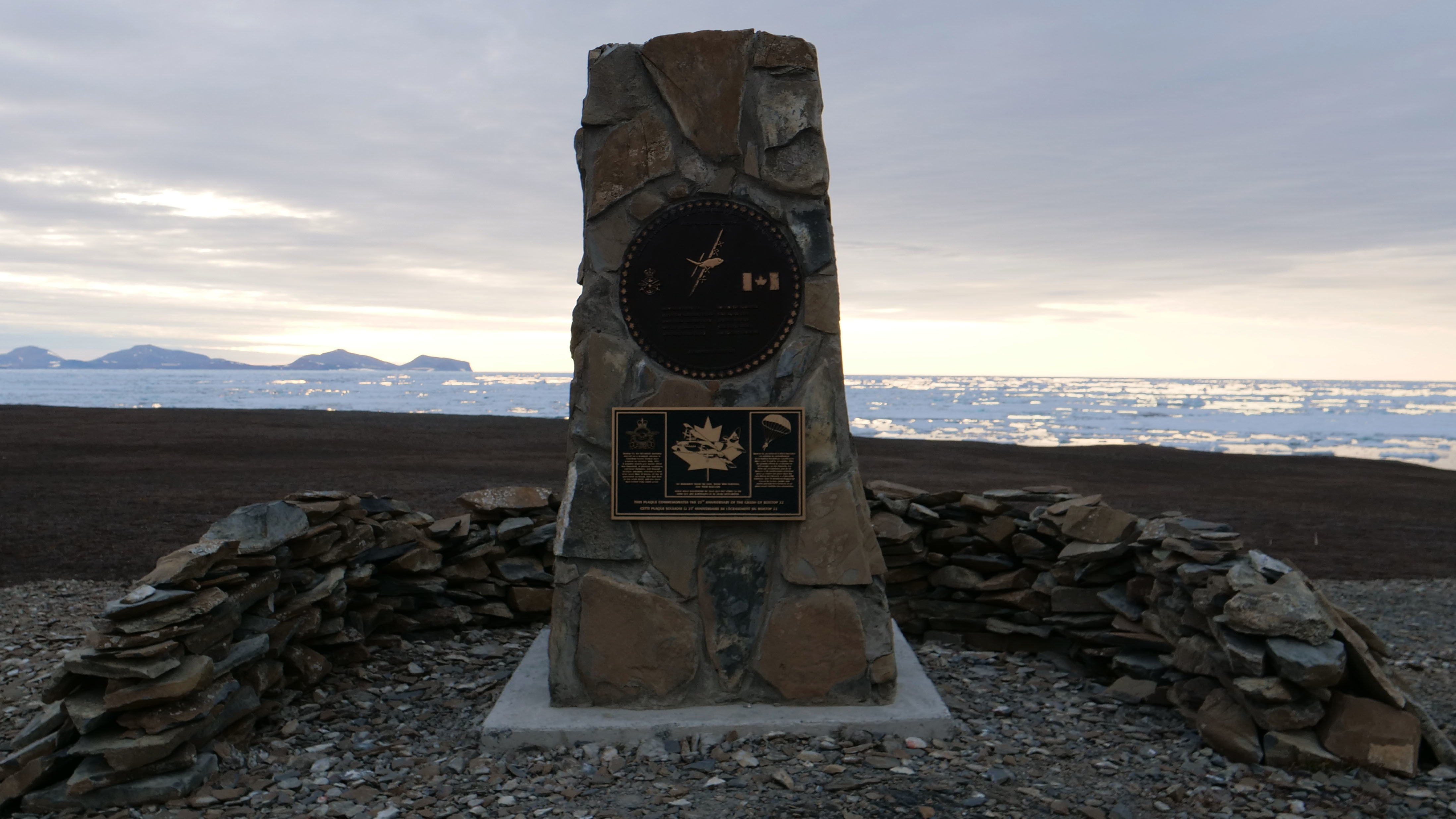 This memorial is located near the nine crosses on the coast. It's a reminder of the sacrifices made to keep the people stationed at the outpost fed, clothed and connected to their loved ones. (Mario DeCiccio/Radio-Canada)