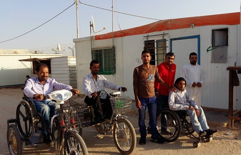 Mohammad, left, at the Zaatari refugee camp. His son Rafat is third from the left. (Submitted by Mohammad Harb)