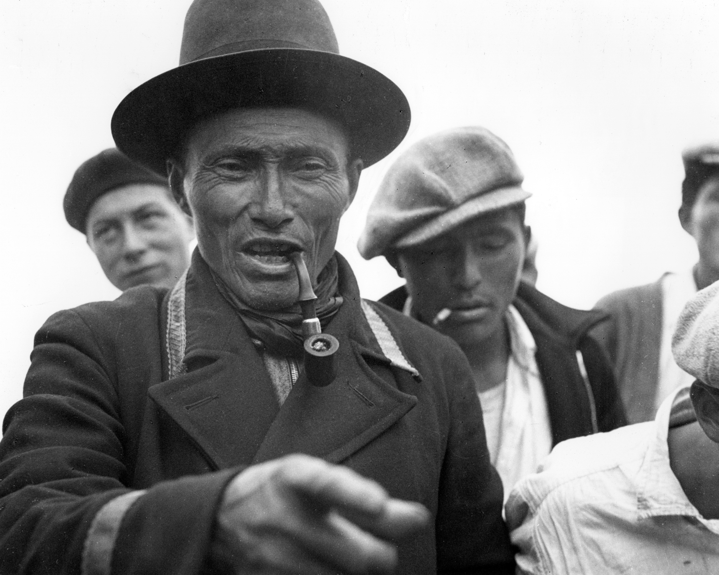 Long considered to be an image of Tłı̨chǫ Chief Jimmy Bruneau in 1939, the man pictured here is likely headman Kwatizo, or possibly another counselor. Immediately after the treaty was signed, the government reneged on its promises. It wasn't until decades later that many of the chiefs present at the signing heard the text of the government's version of their agreement. (NWT Archives/Richard Finnie fonds/N-1979-063: 0047)
