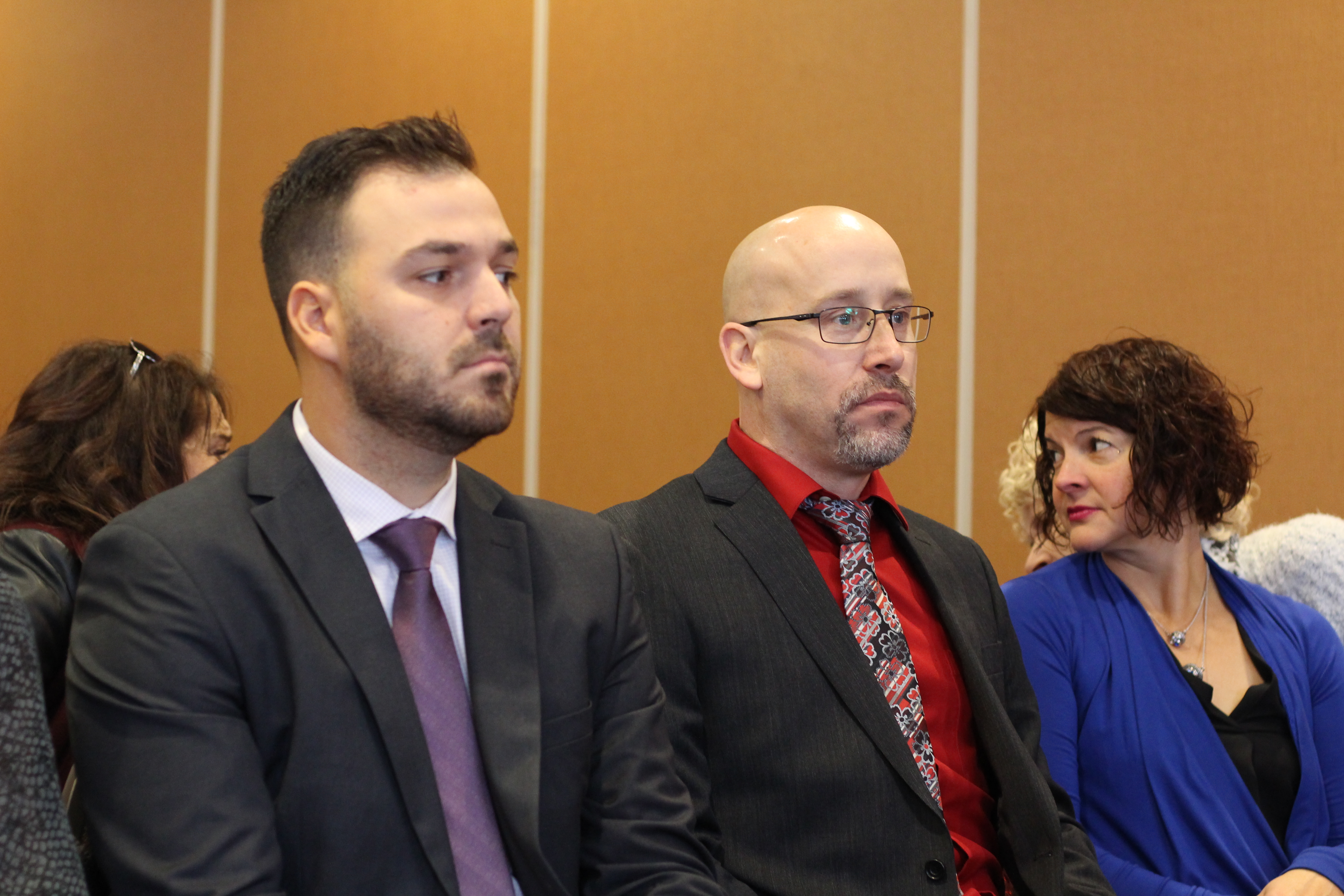 Bathurst Police Force constables Mathieu Boudreau, left, and Patrick Bulger were the newest members of the integrated intelligence unit. (Shane Magee/CBC)