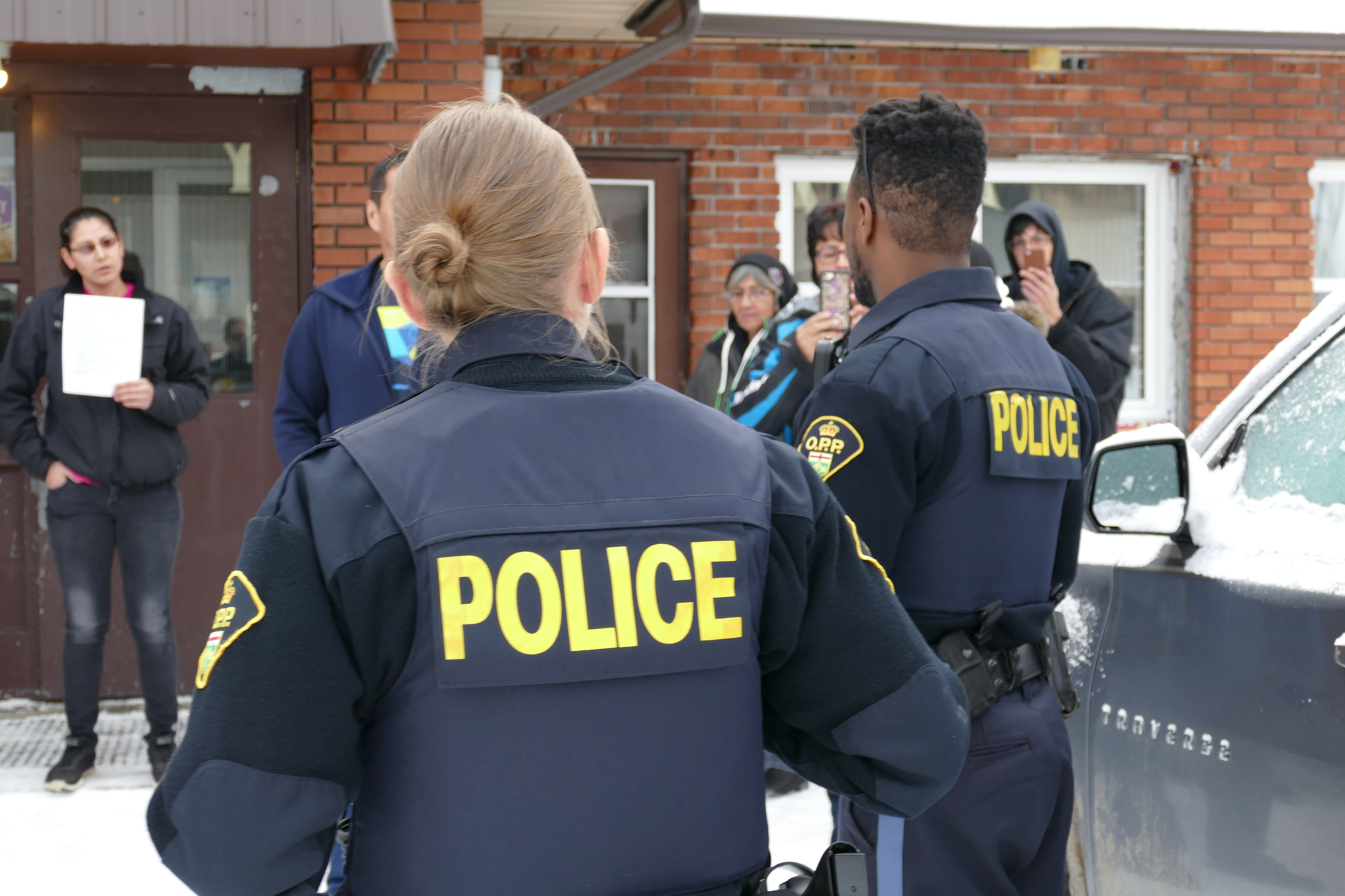 The Ontario Provincial Police showed up at the meeting. (Jorge Barrera/CBC)