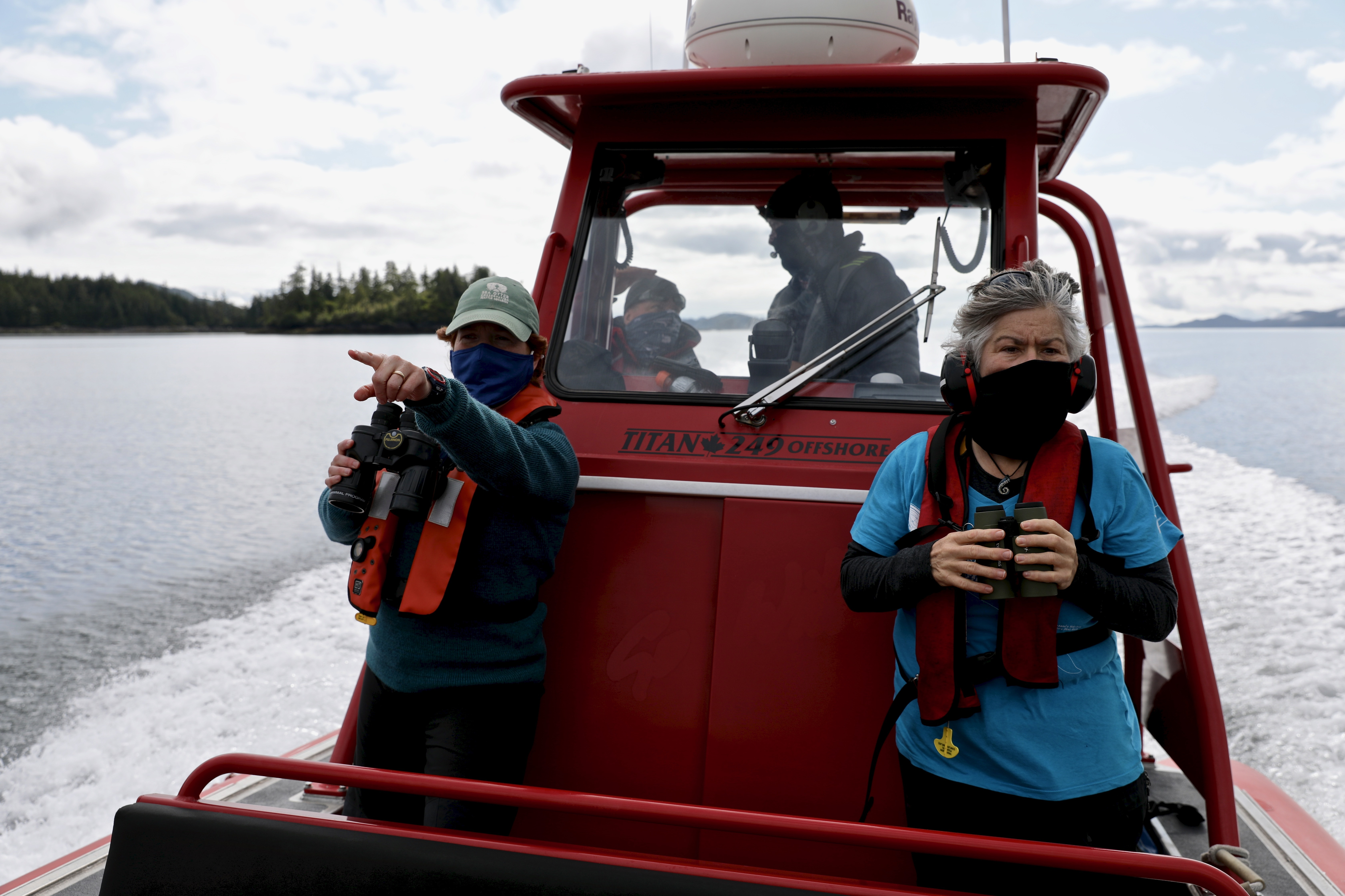 Sea otter researcher Erin Foster and naturalist Jackie Hildering count otters for a coastal survey around the northern tip of Vancouver Island. (Chris Corday/CBC)
