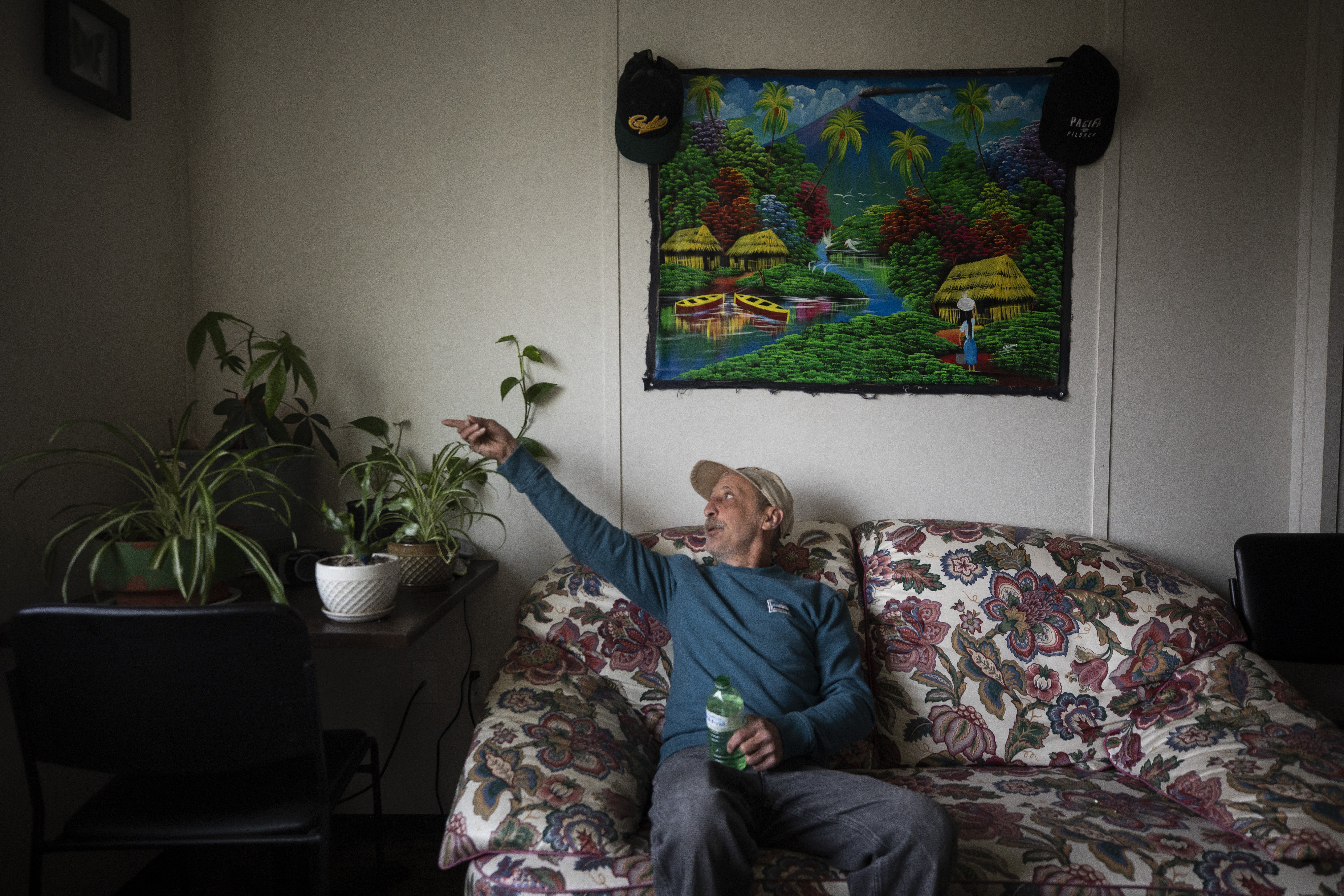 Charlie Smyth's plant collection has grown since he first moved into his temporary modular unit in 2018. (Ben Nelms/CBC)