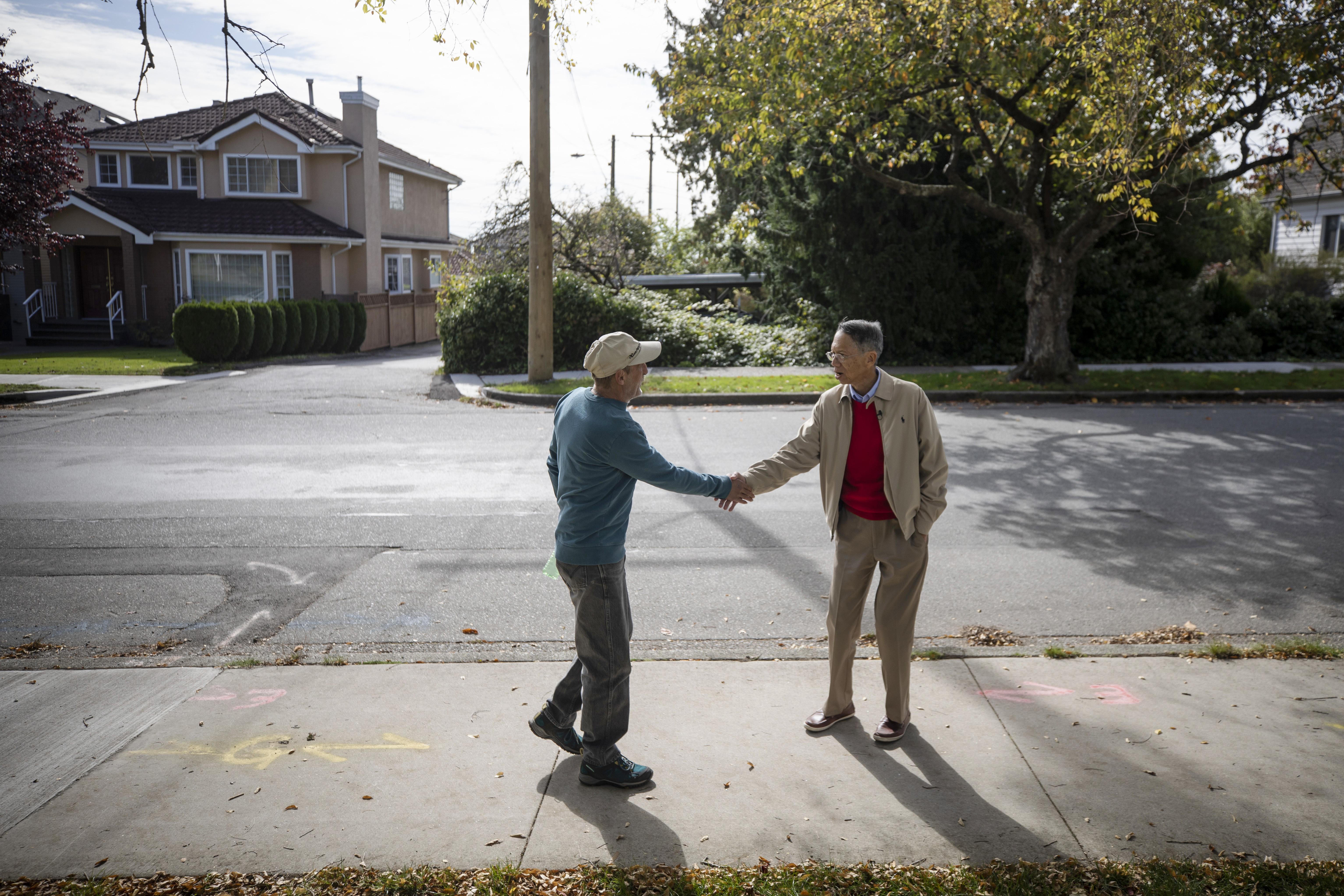 Albert Leung and Charlie Smyth, residents of the Marpole neighbourhood. (Ben Nelms/CBC)