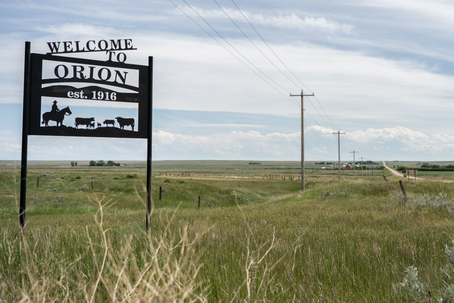 A sign welcomes visitors to Orion, Alta. (Vincent Bonnay/Radio-Canada)
