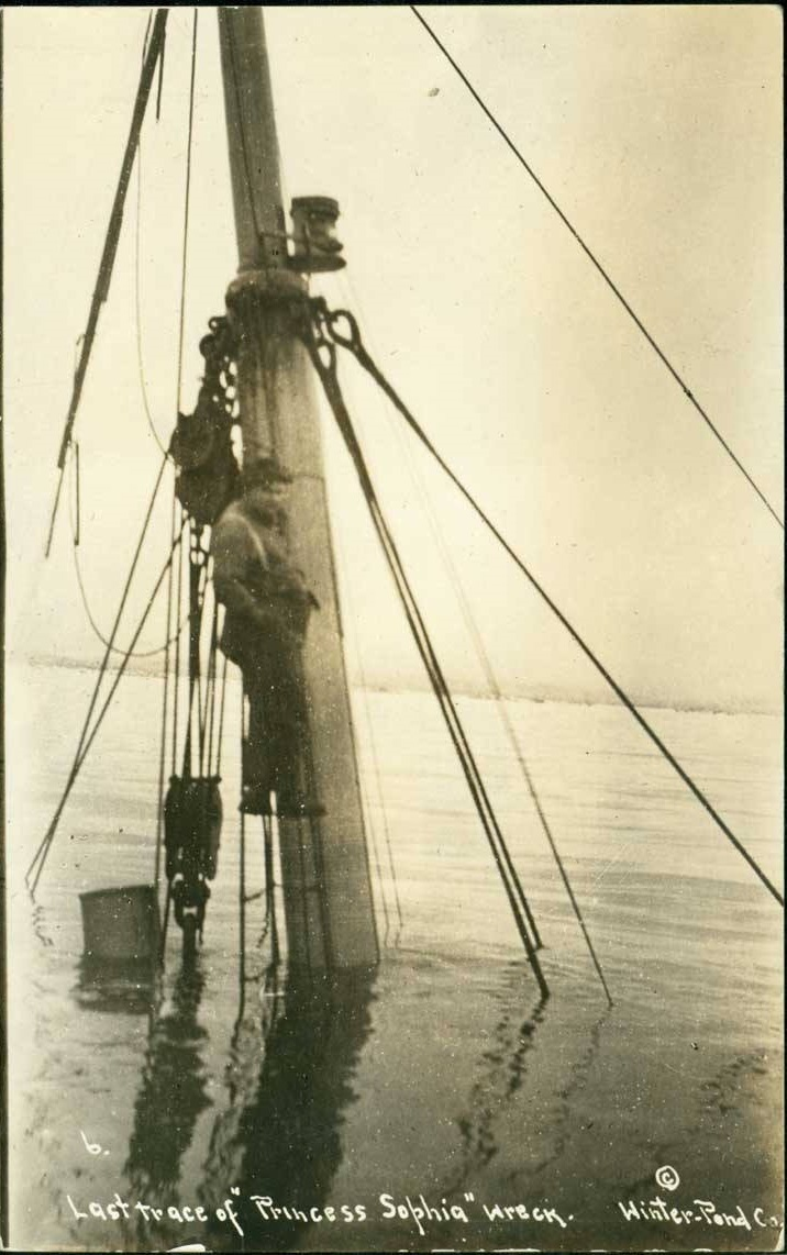 When rescue ships returned, all that was visible of the Sophia was her foremast. (Alaska State Library Winter & Pond Photo Collection)