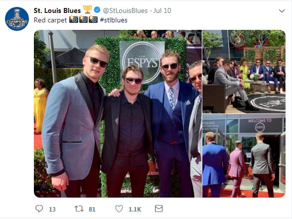 Colton Parayko, on the left, wore this custom velvet sport coat to the ESPY Awards. (Twitter)