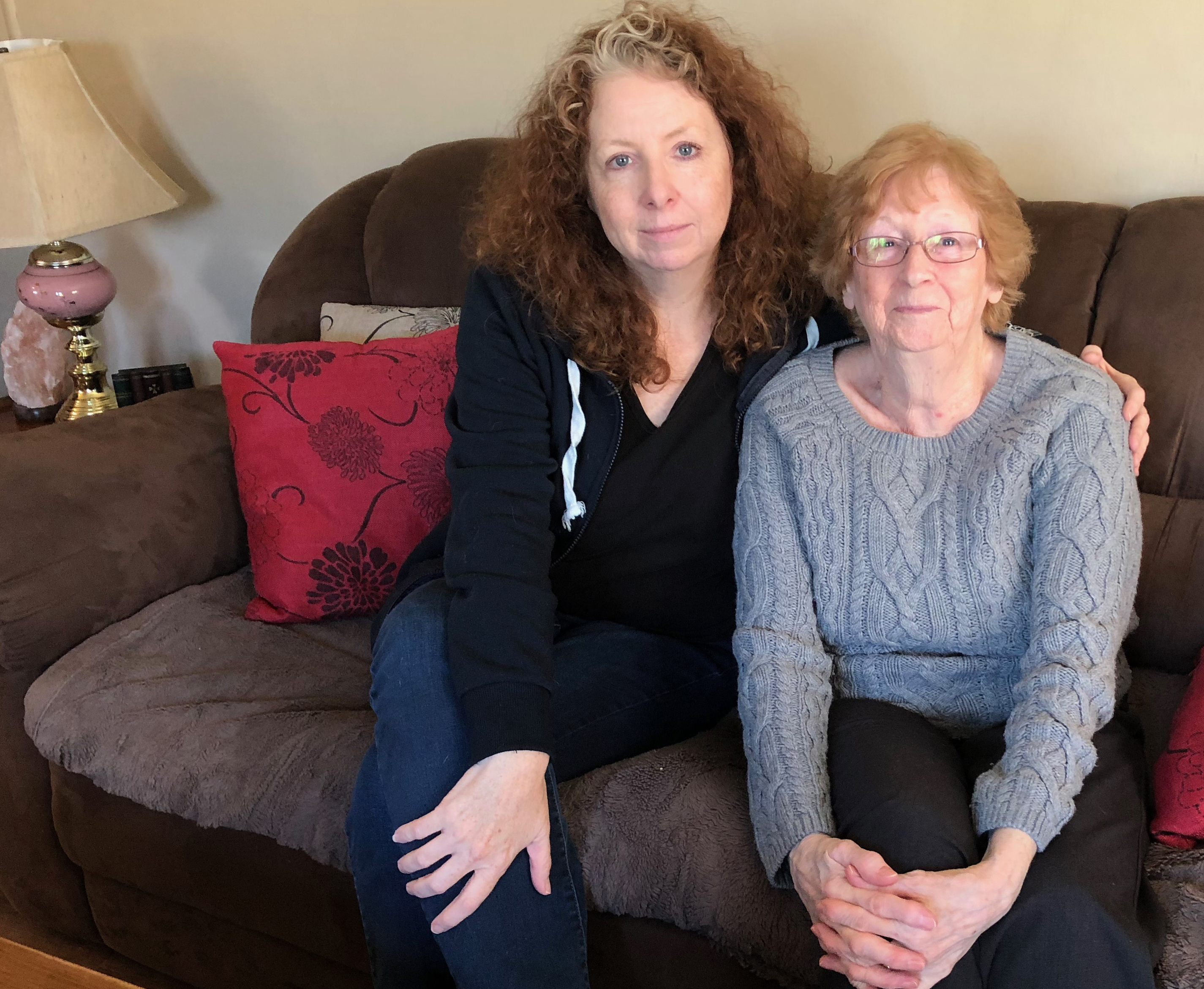 Pam Detlor and her mom Jeannette Detlor were able to move their trailer to land outside Summerside, but say many others couldn't afford to do that, and sold their trailers for very little. (Laura Meader/CBC)