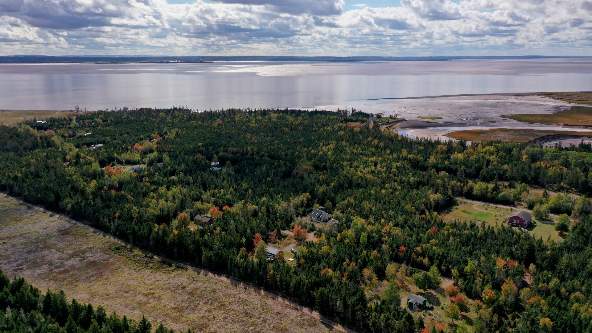 Portapique is nestled on the shores of Cobequid Bay, which leads into the Bay of Fundy. Along the eastern edge, there is a dirt road along a blueberry field that the gunman used to get out of the community. (Steve Lawrence/CBC)