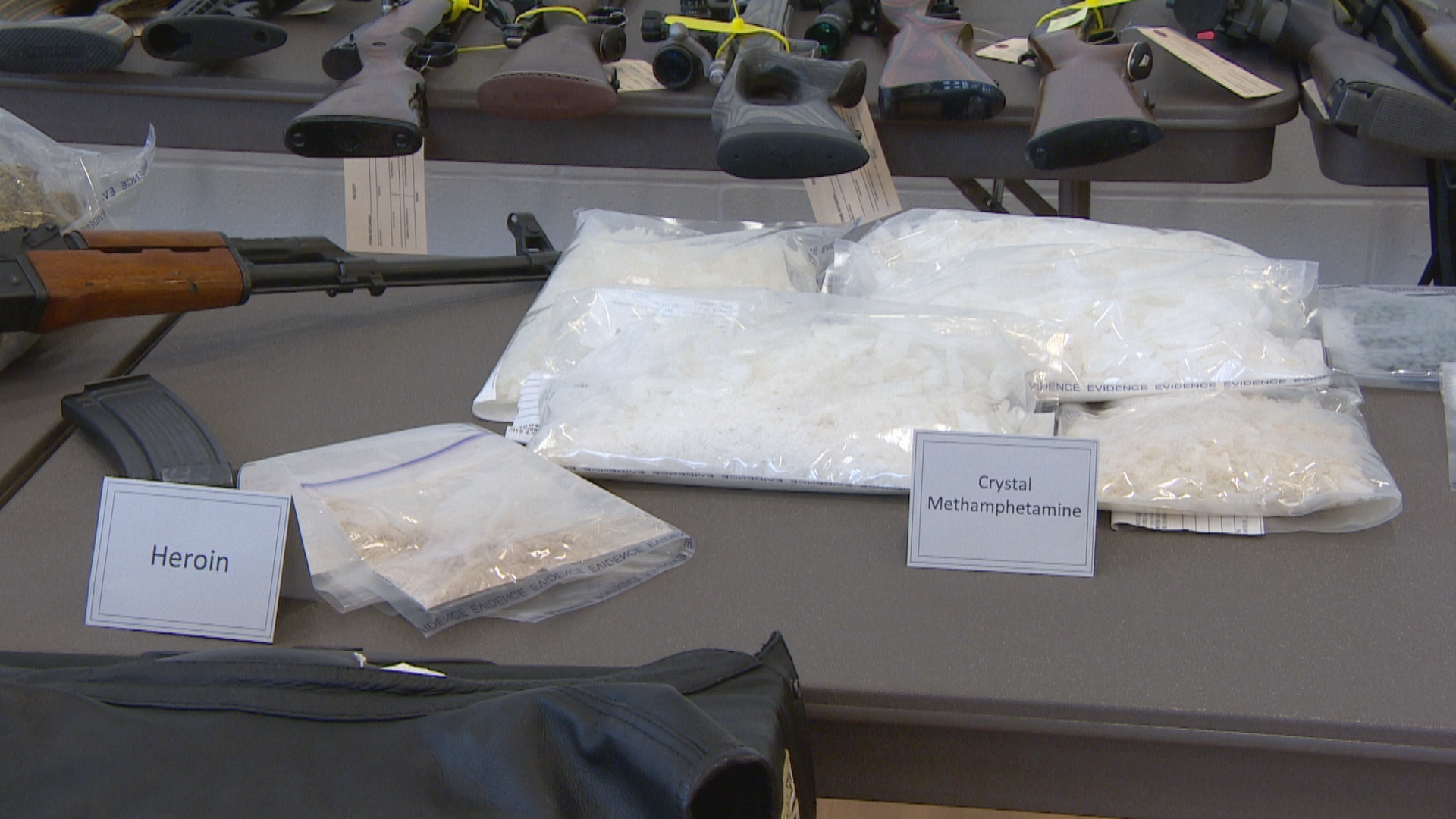 Bags of heroin, crystal meth, fake oxycontin and cocaine were seized in the raids. (CBC)