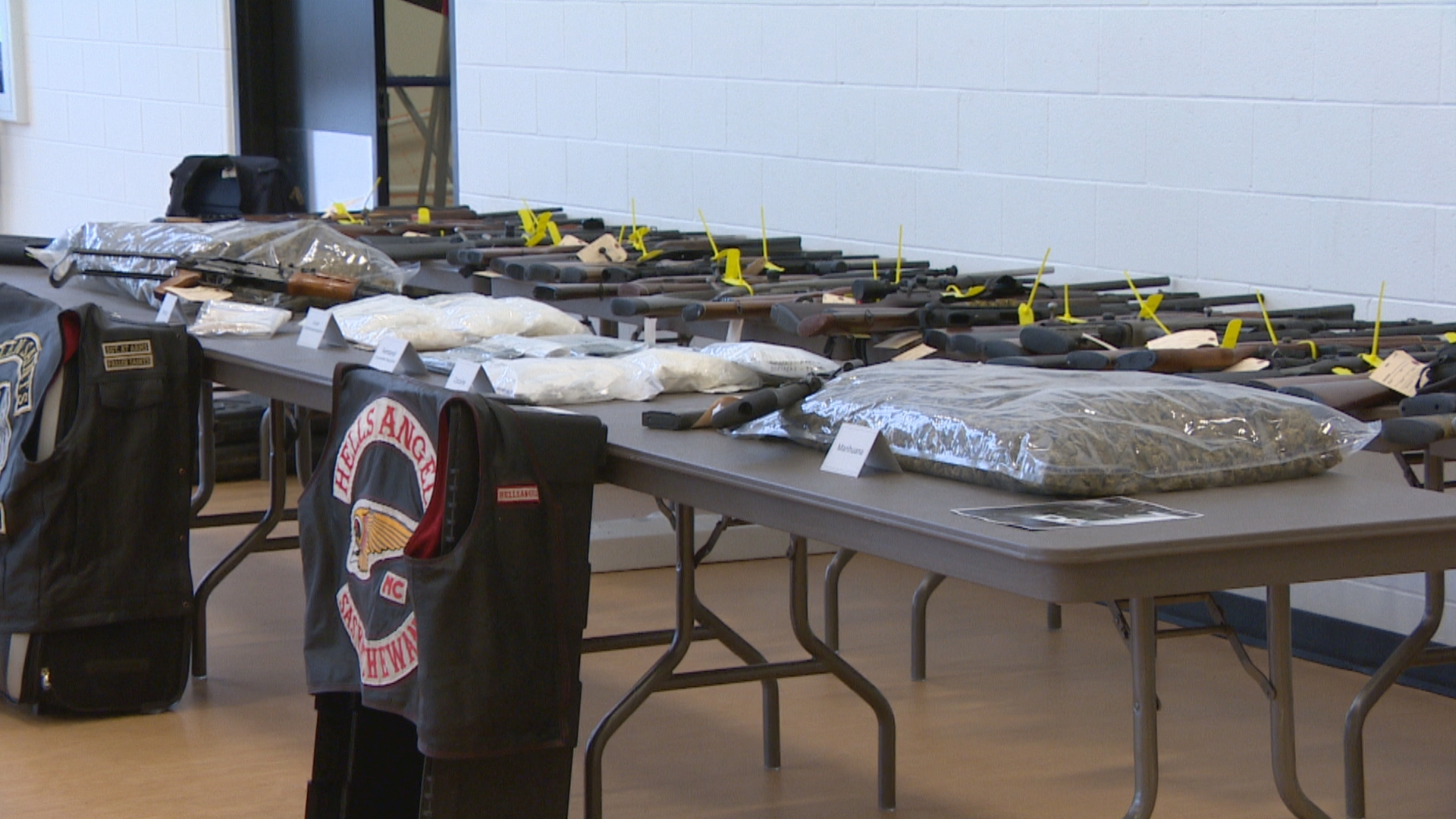 Police across Saskatchewan and Alberta seized guns and drugs, including significant amounts of counterfeit oxycontin and methamphetamine as part of Project Forseti. (CBC)