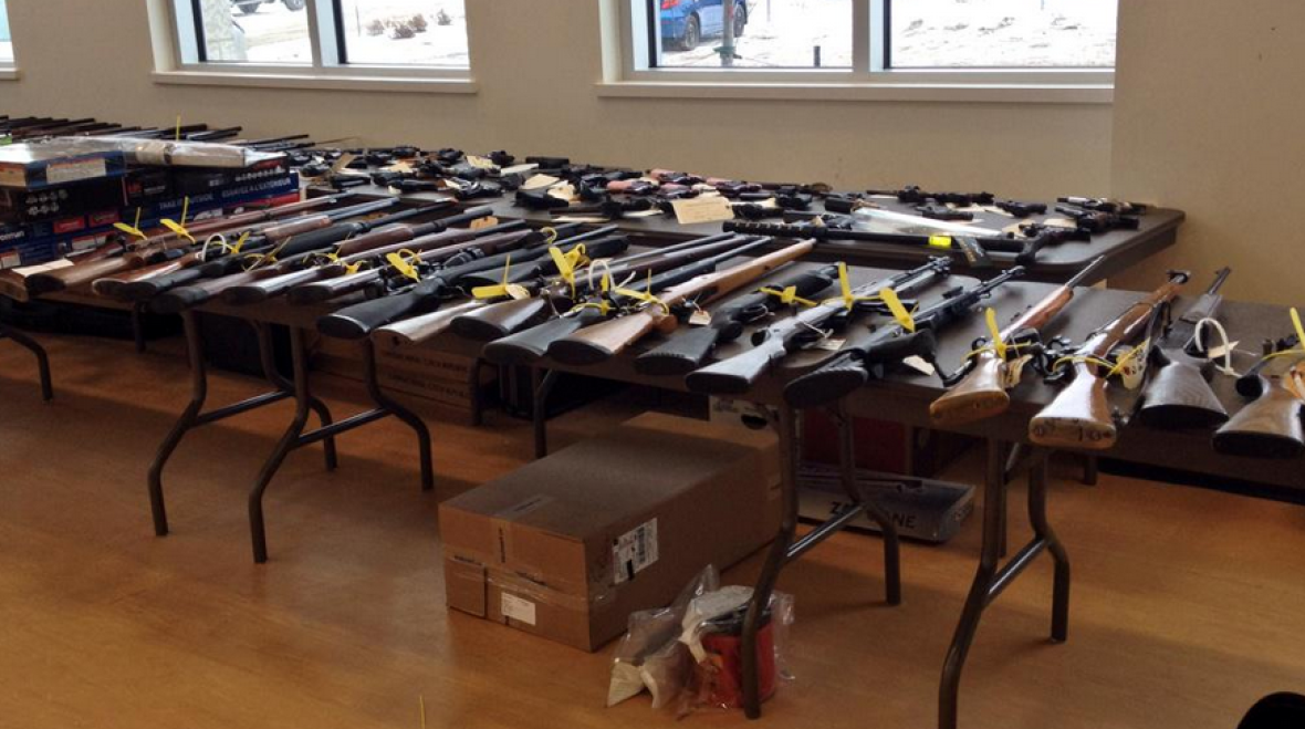 Police seized about 200 firearms, including prohibited and restricted firearms in Project Forseti (CBC)