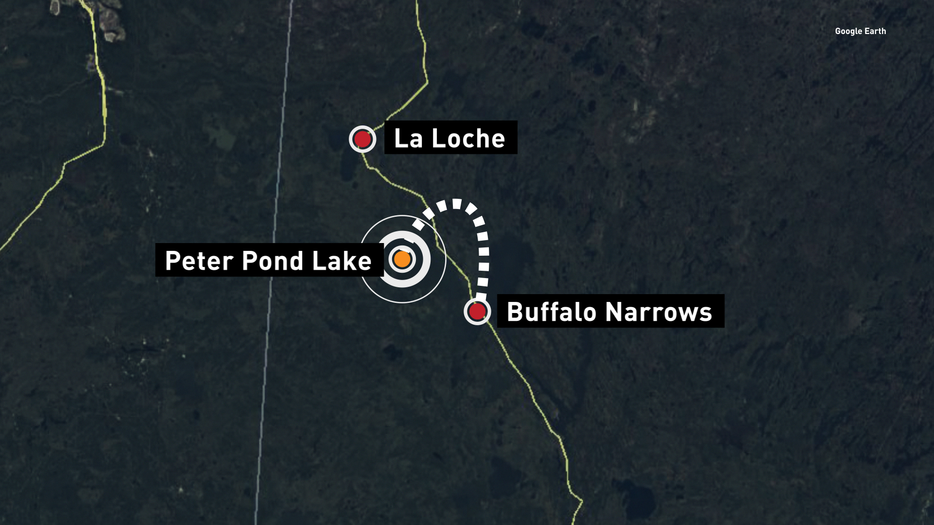 The plane's route was to fly from Buffalo Narrows to La Loche. Buffalo Narrows is approximately 500 kilometres north of Saskatoon.