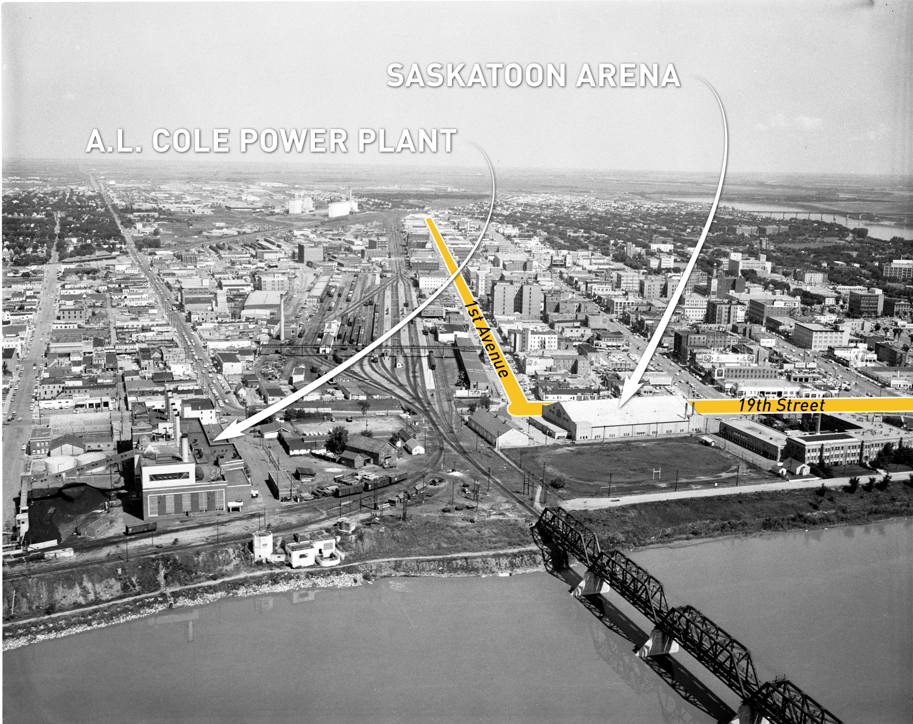 An aerial shot showing the location of the A.L. Cole power plant (River Landing today) and its proximity to the old Saskatoon Arena. (Saskatoon Public Library Local History Room - Photo CP-62-2)