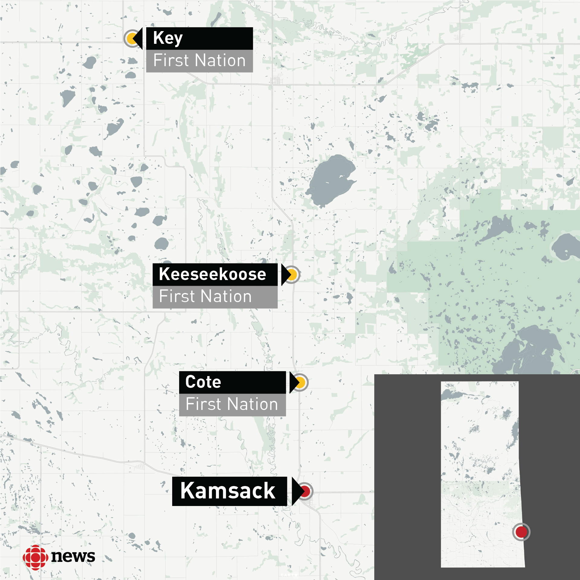 The reserves near Kamsack are not far from the town. It's only about a 40-kilometre drive to Key First Nation.