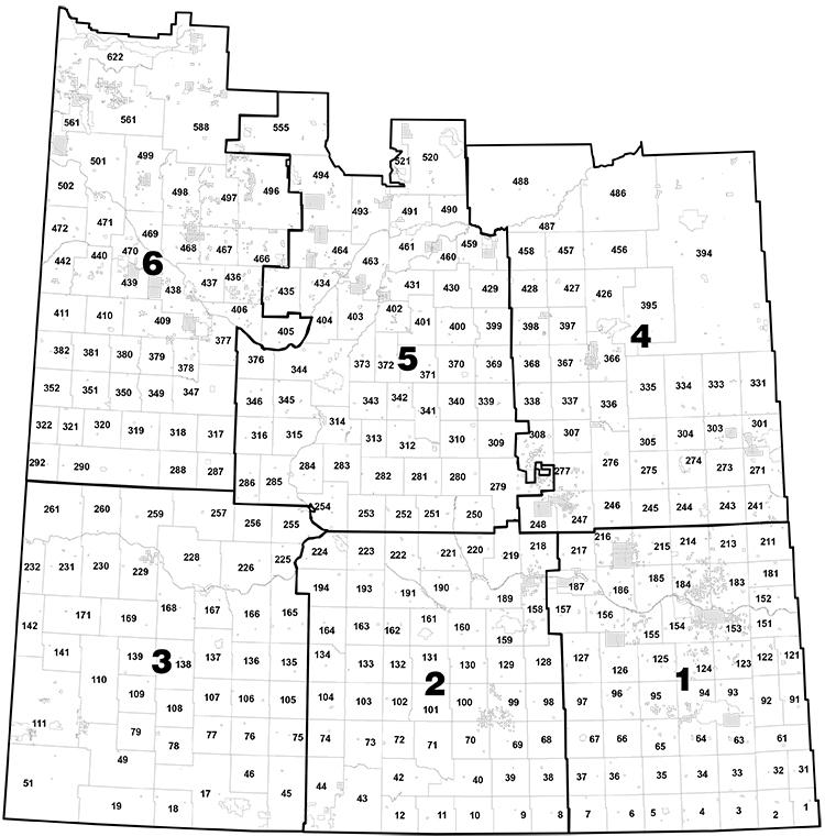 A map of the hundreds of rural municipalities in Saskatchewan.
