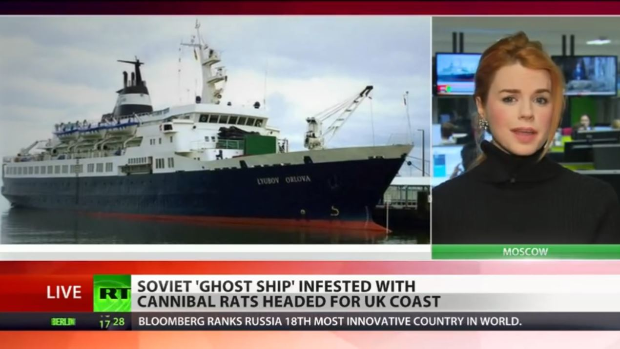 The Lyubov Orlova became known as a 'cannibal rat-infested ghost ship' as international coverage of the situation unfolded. (primetimeru/YouTube)