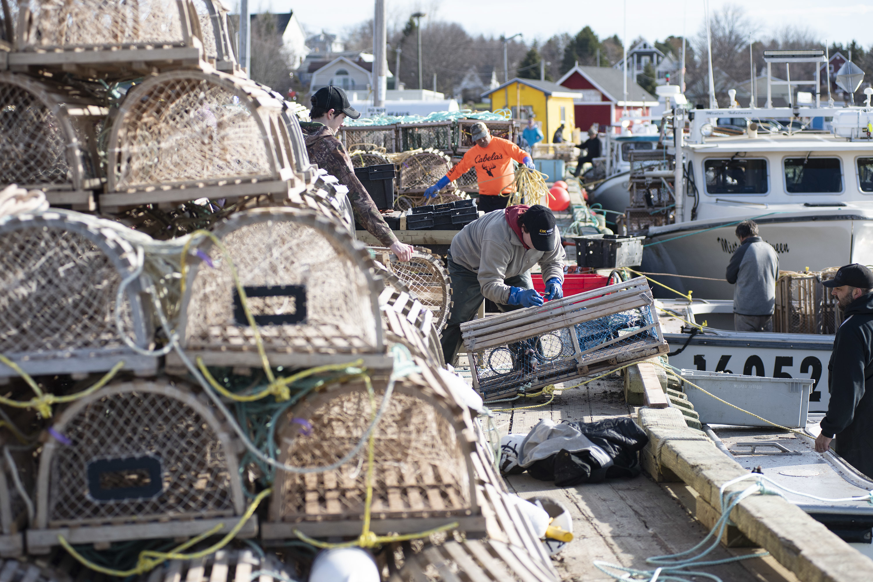 When most of the boats are docked and loading traps there is not much room on the wharf. (Brian McInnis)