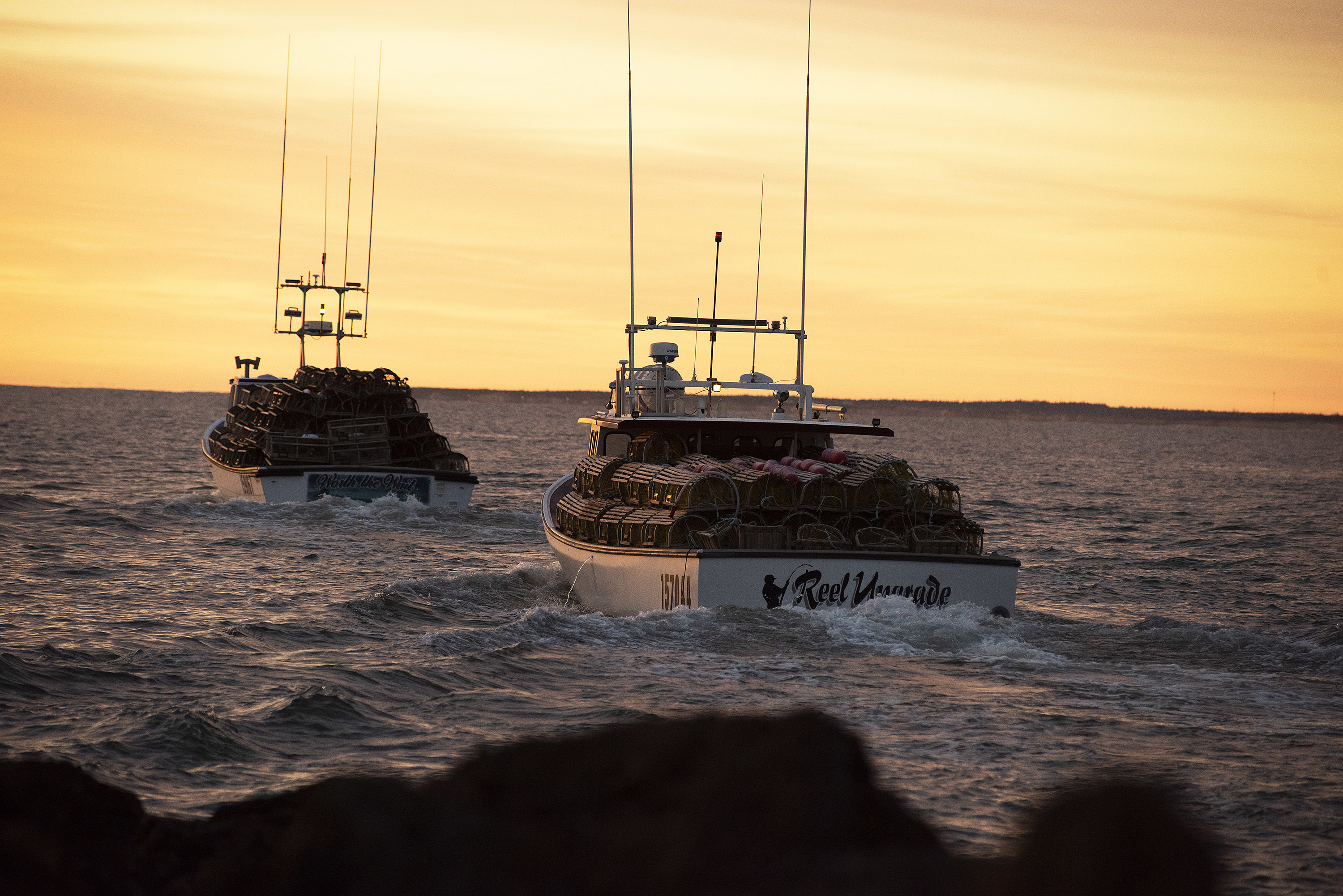 The sun is not yet above the horizon when the boats and their crews head to the staging area. (Brian McInnis)