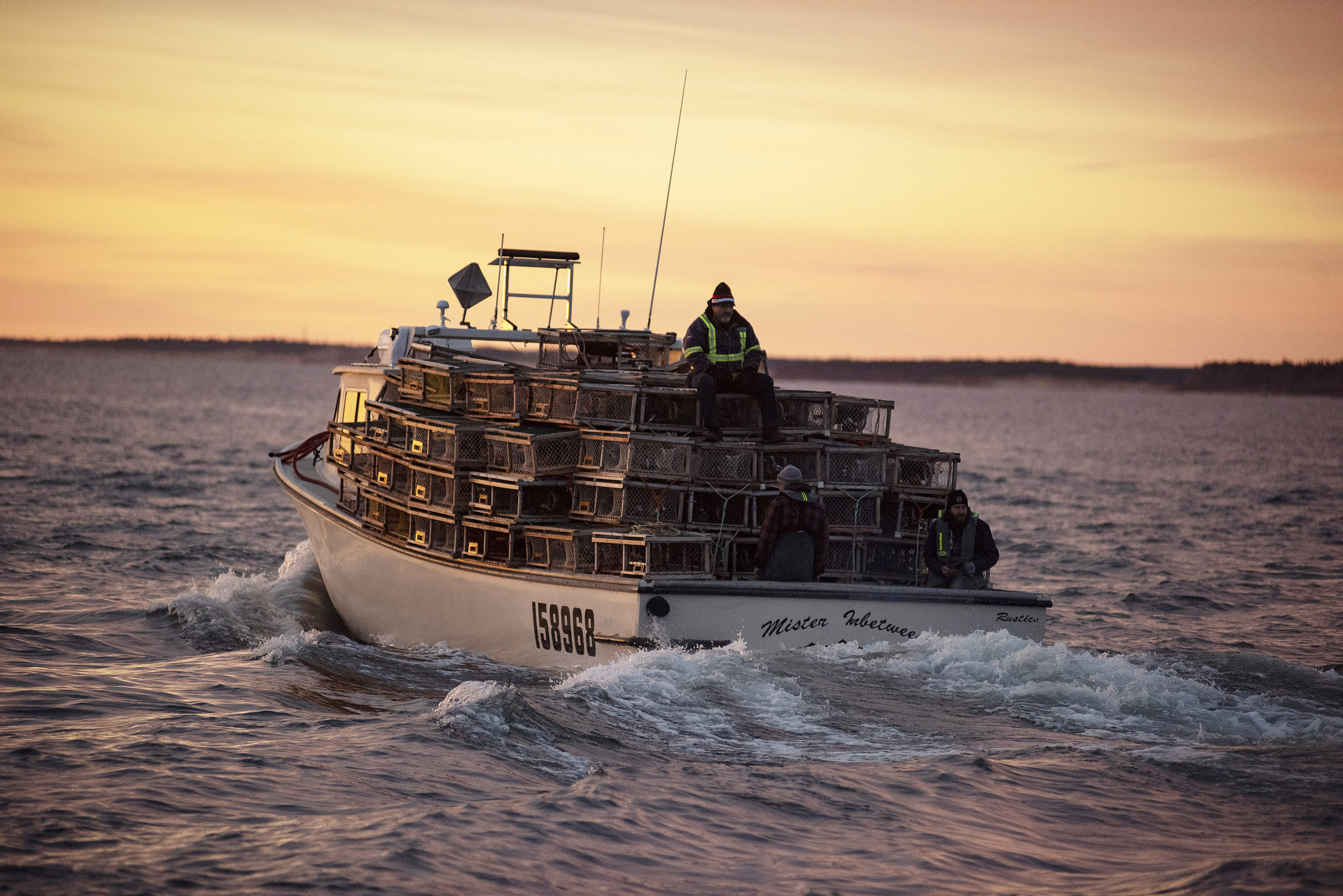 Mister In-Between and its load of traps leaves the North Rustico Harbour. (Brian McInnis)