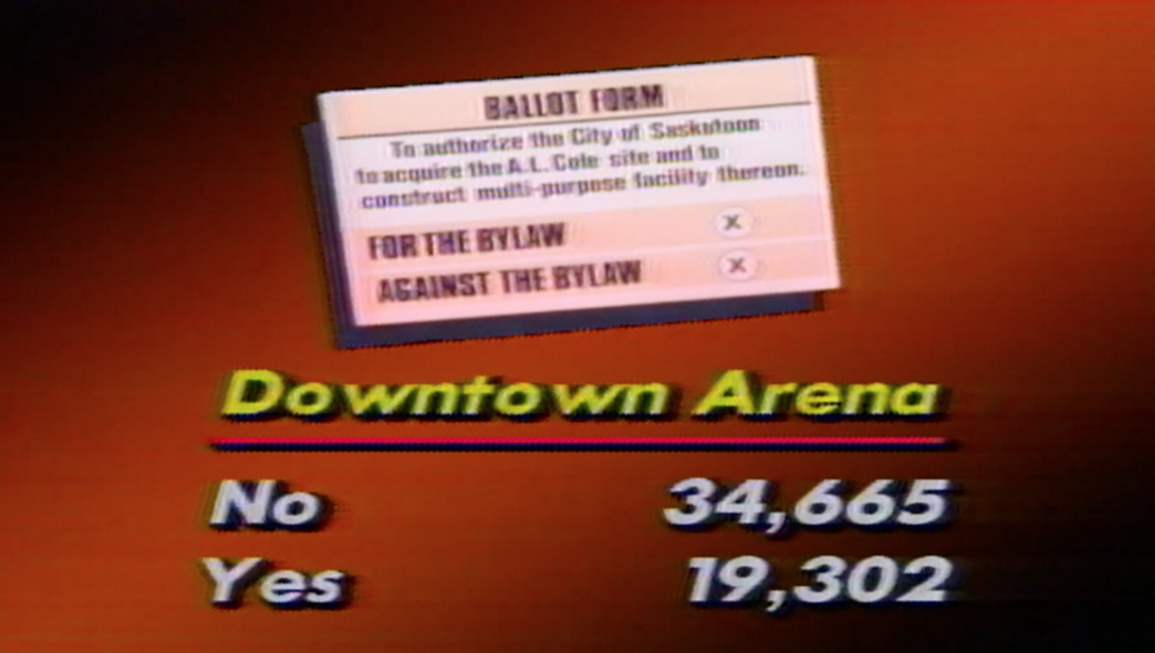 A CBC News television graphic showing the results of the vote.