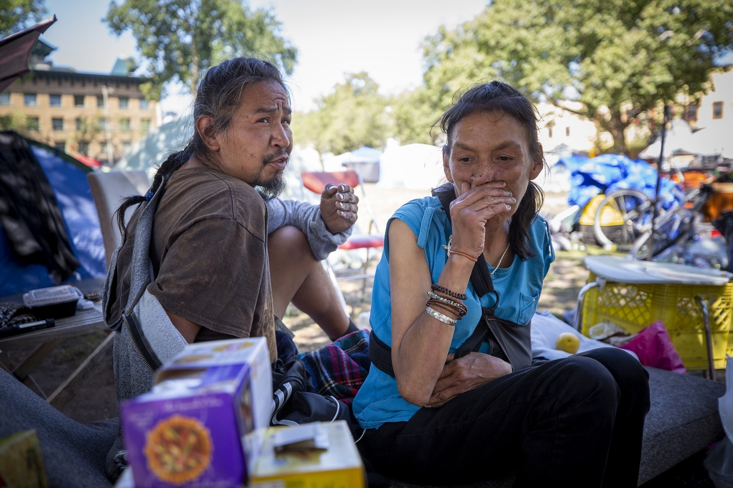 Oppenheimer Park residents in Vancouver, British Columbia on Friday, September 6, 2019. (Ben Nelms/CBC)