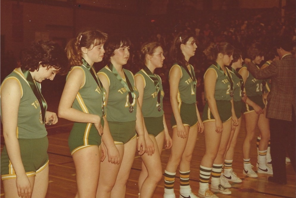 Fertuck, third from the left, with her senior girls provincial basketball team after winning silver in 1981. (Submitted)