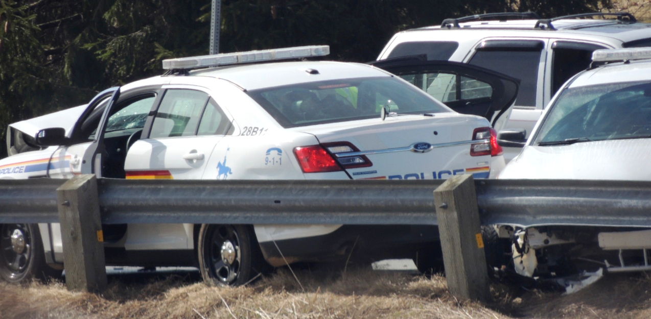 The gunman's mock cruiser was finally stopped when he collided with Const. Heidi Stevenson. The silver SUV was driven by Joey Webber, who was killed by the gunman when he pulled over to help. (Submitted by Rob Pineo)