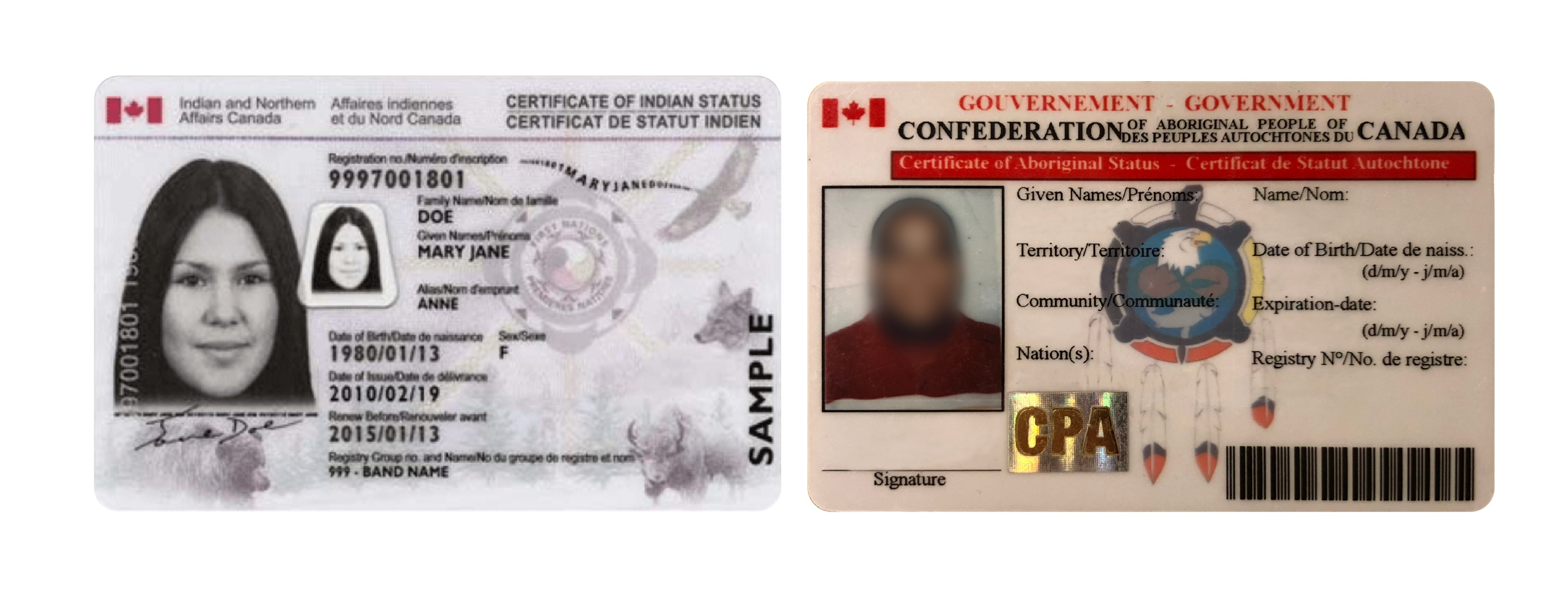 An Indian status card on the left; the CAPC card on the right. Some CAPC members have attempted to use their cards to obtain tax exemptions. (CBC)