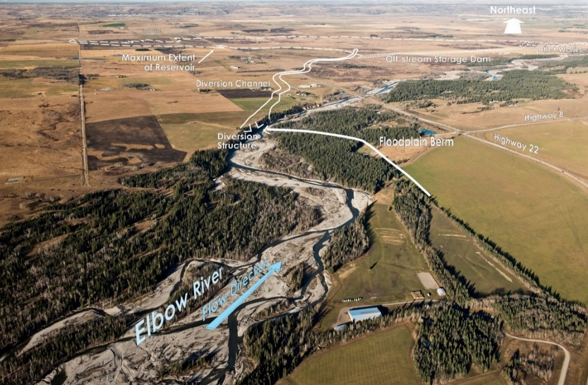 An annotated aerial photograph showing where the diversion structure would be built to allow water to flow from the Elbow River into the Springbank reservoir during periods of high flow. (Alberta Government)