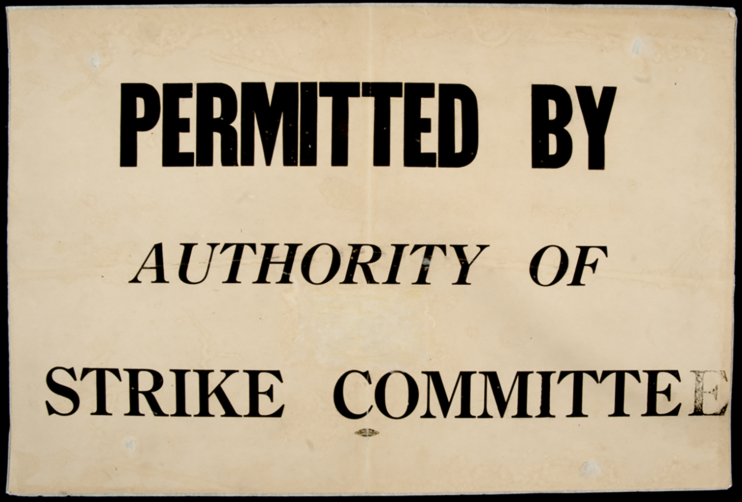 Permission cards identified providers of essential services who were given authorization by the strike committee. (Archives of Manitoba)