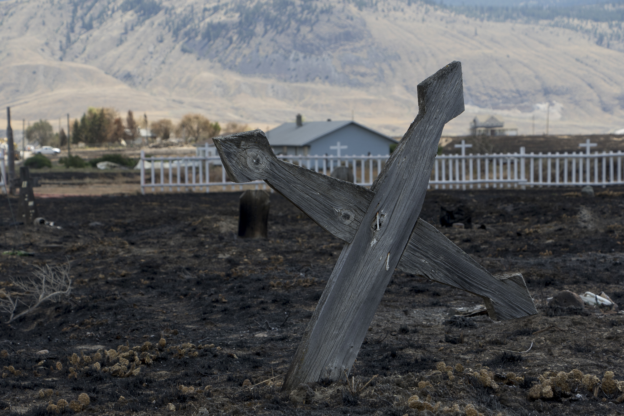 The cemetery was also ruined by wildfire. The Band is working to rebuild the site as well. (Tina Lovgreen/CBC)