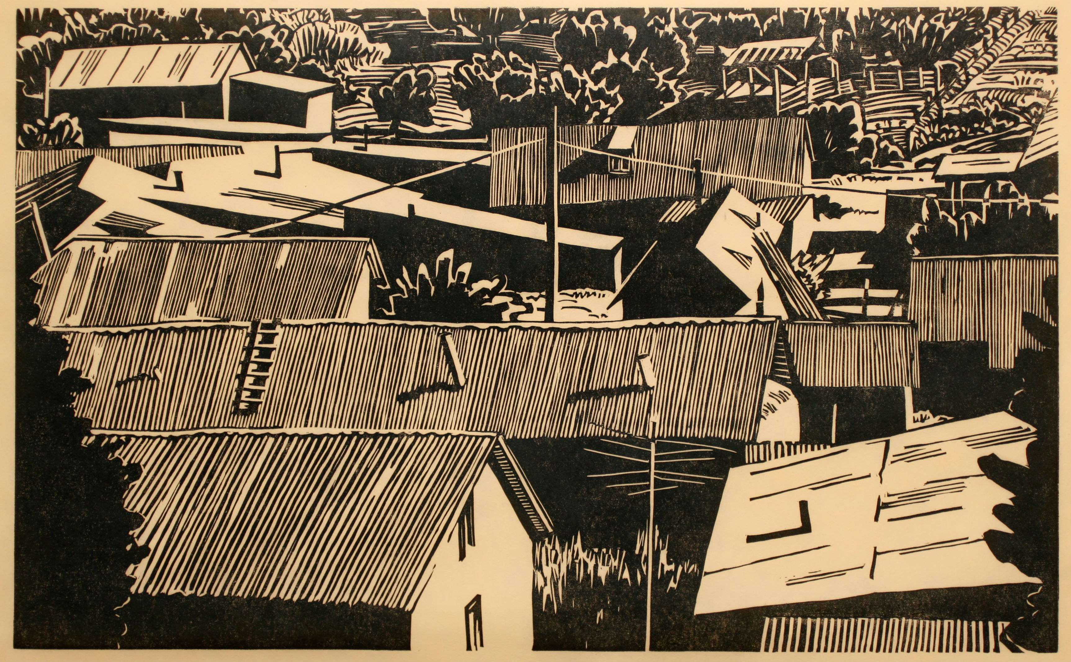 Cordova, a woodcut print by Thayer Carter, 2006. (Albuquerque Museum Collection)