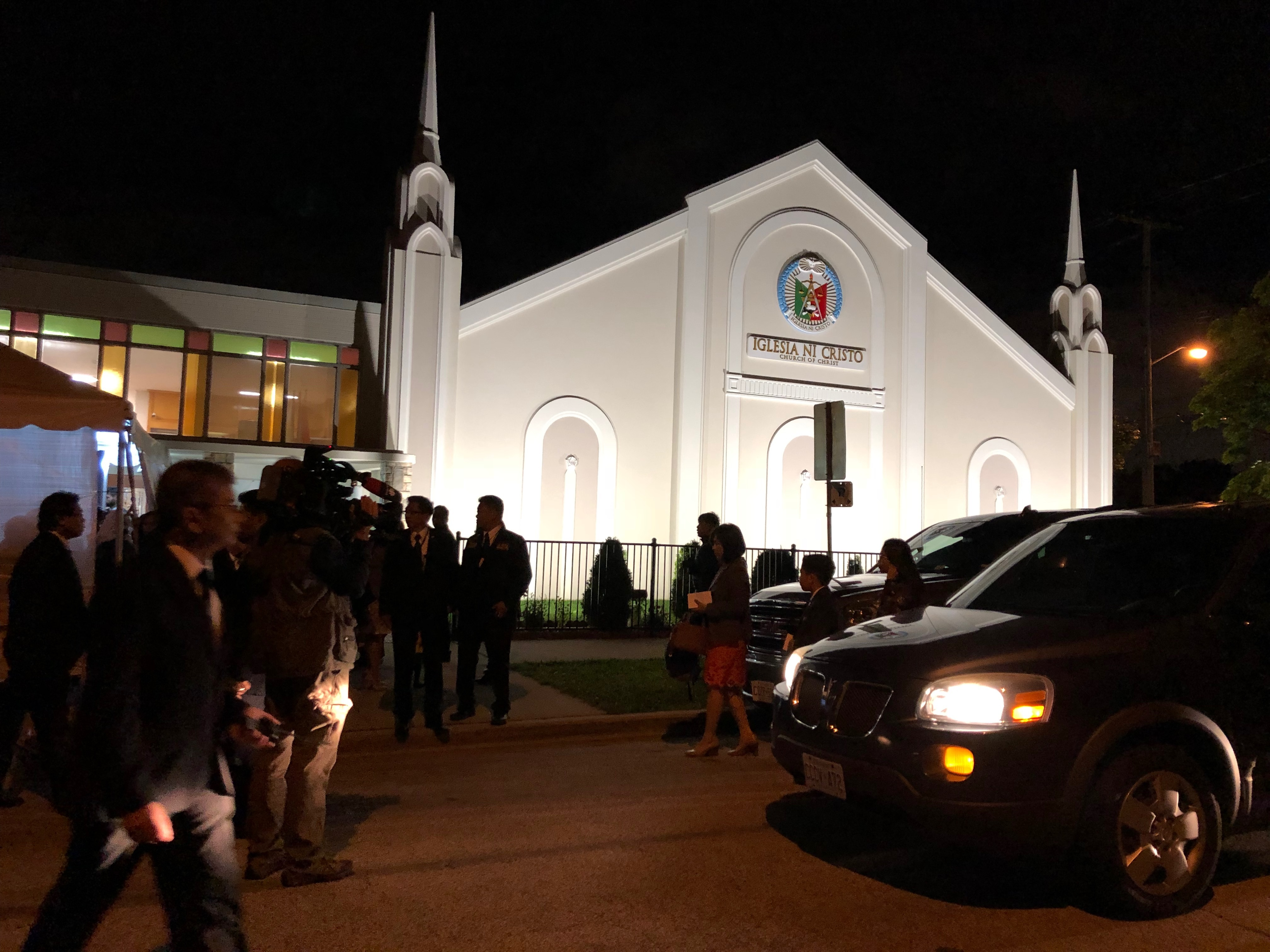 Worshippers come to hear Manalo speak at an INC church in a Toronto suburb in September. (CBC)