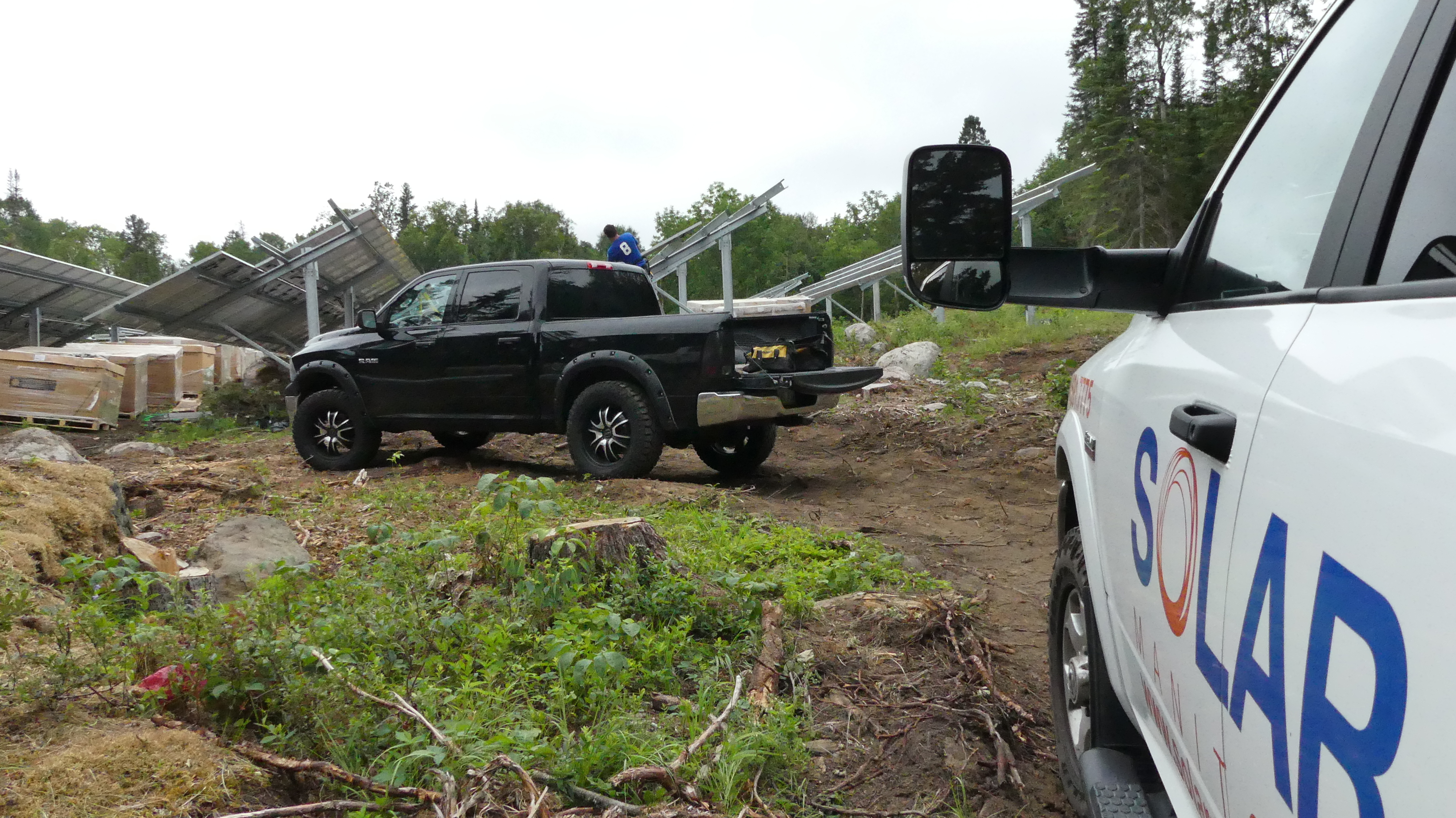 The crew had to cut a clearing in the forest to make room for the solar panels. (Cameron MacLean/CBC)