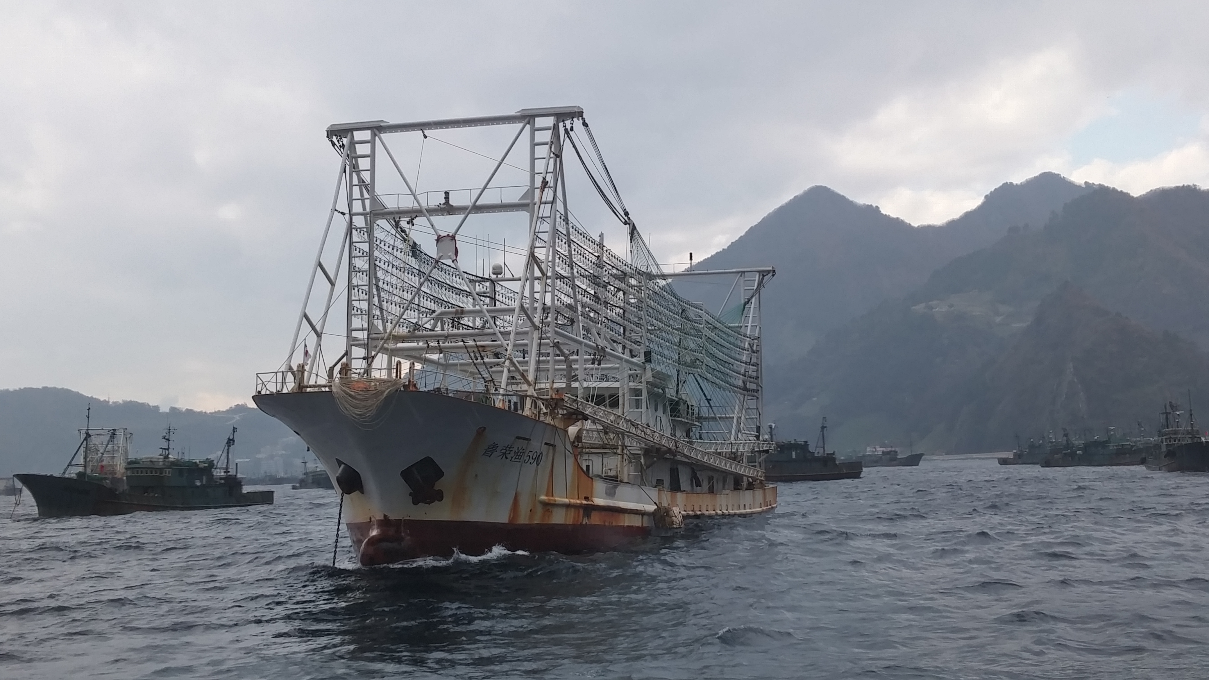 A Chinese squid ship sits in port off Ulleung Island in South Korean waters. South Korean Coast Guard authorities who have boarded ships on their way to North Korean fishing grounds have been shown fishing permits signed by North Korean authorities — in violation of UN sanctions. (South Korea Fisheries Agency/The Outlaw Ocean Project)