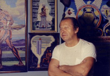 Karoniaktajeh Louis Hall and some of his paintings in 1969. (Submitted by Louise Leclaire)