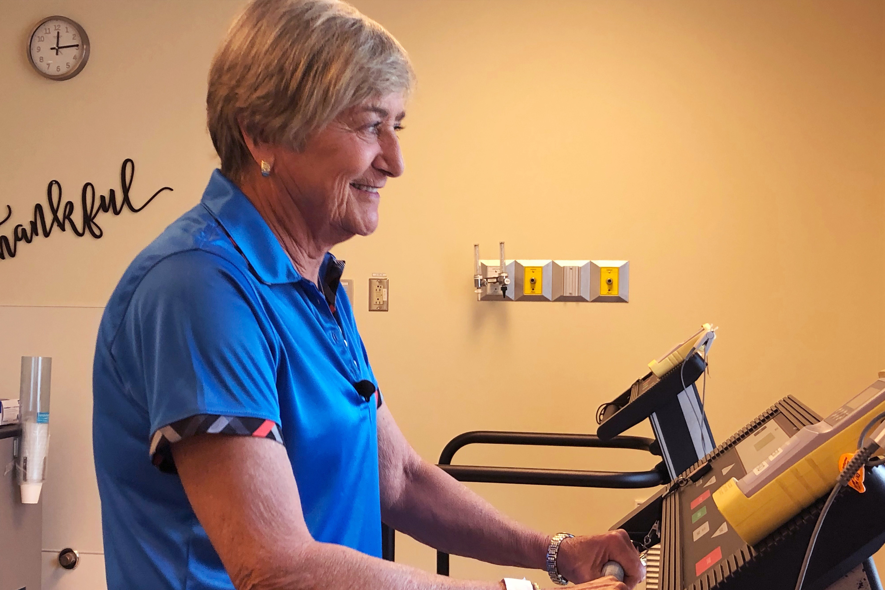 Davis can nearly run on a treadmill now. Before her surgery she needed to wear an oxygen mask. (Carolyn Ray/CBC)