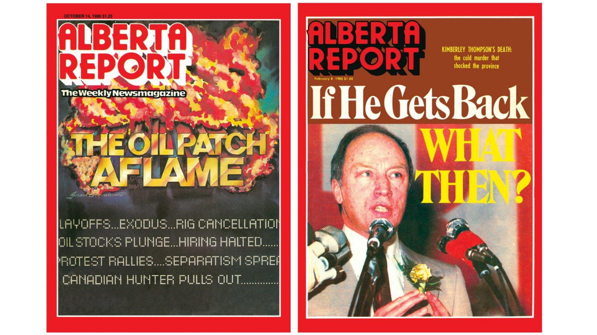The Alberta Report frequently adorned its covers with dramatic headlines and explosive imagery while also adopting the red border most frequently associated with Time magazine. (Alberta Report)