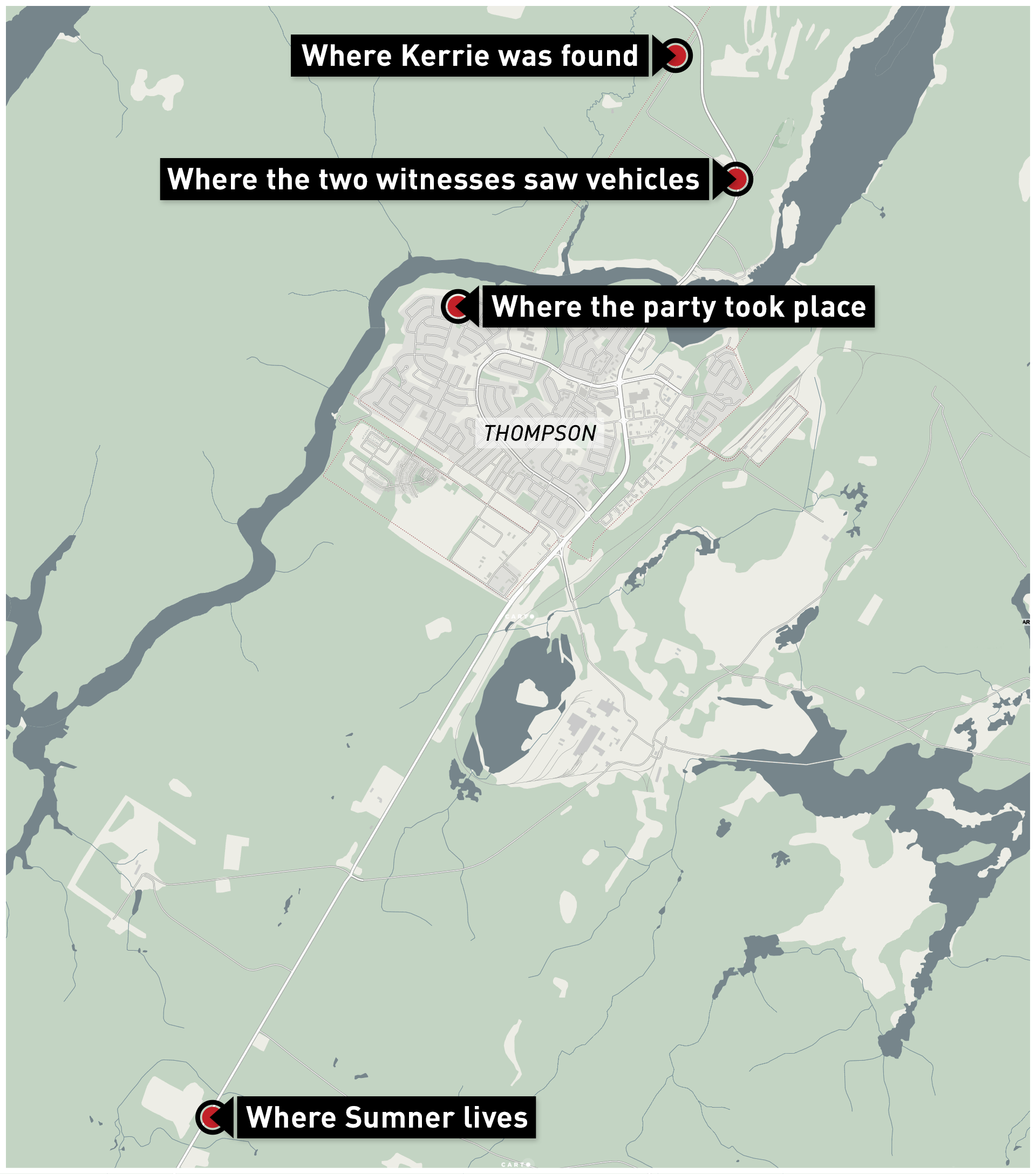 Kerrie's body was found near a horse stable road through the woods, not far from the house party where she was last seen. (CBC News Graphics)