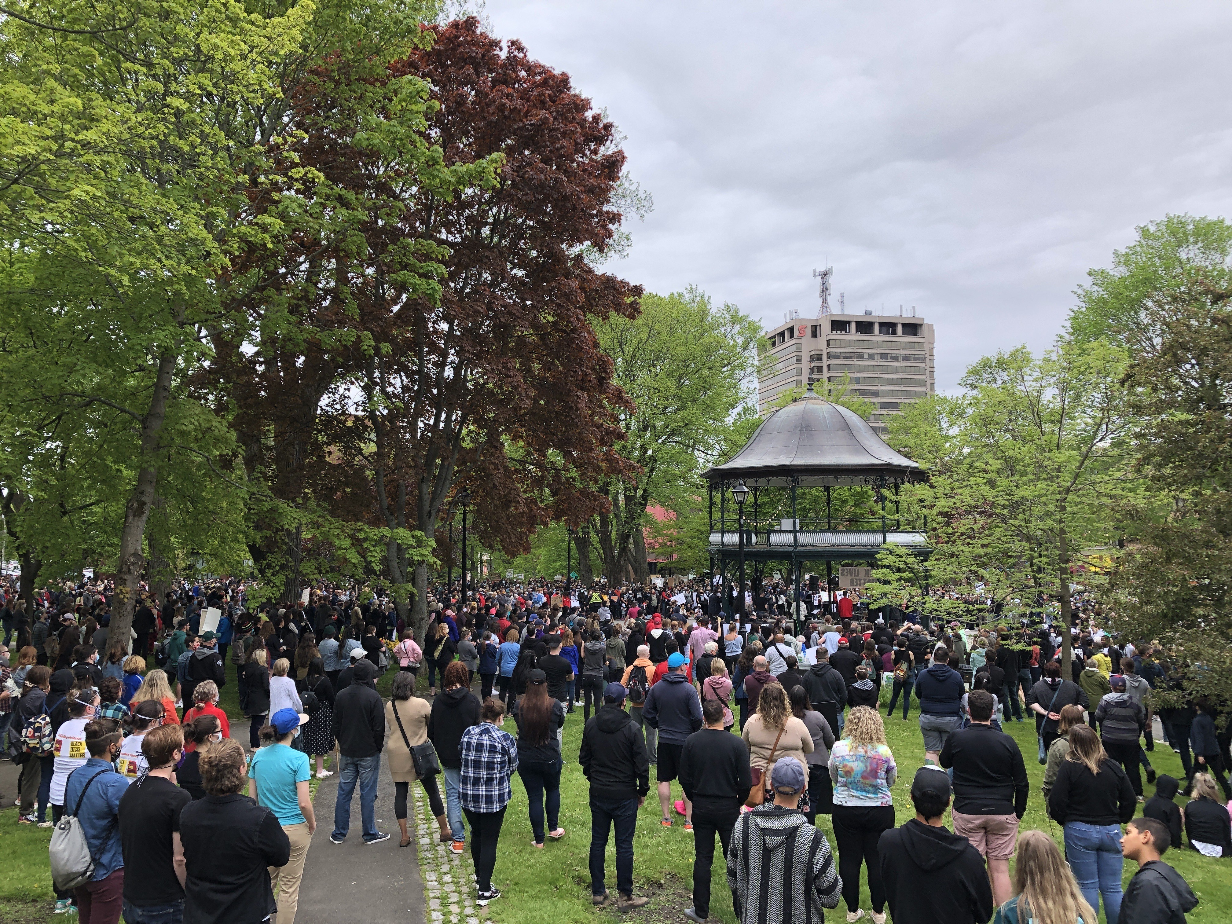 More than 1,000 people took to the streets in Saint John for the Black Lives Matter rally in June. (Julia Wright/CBC)