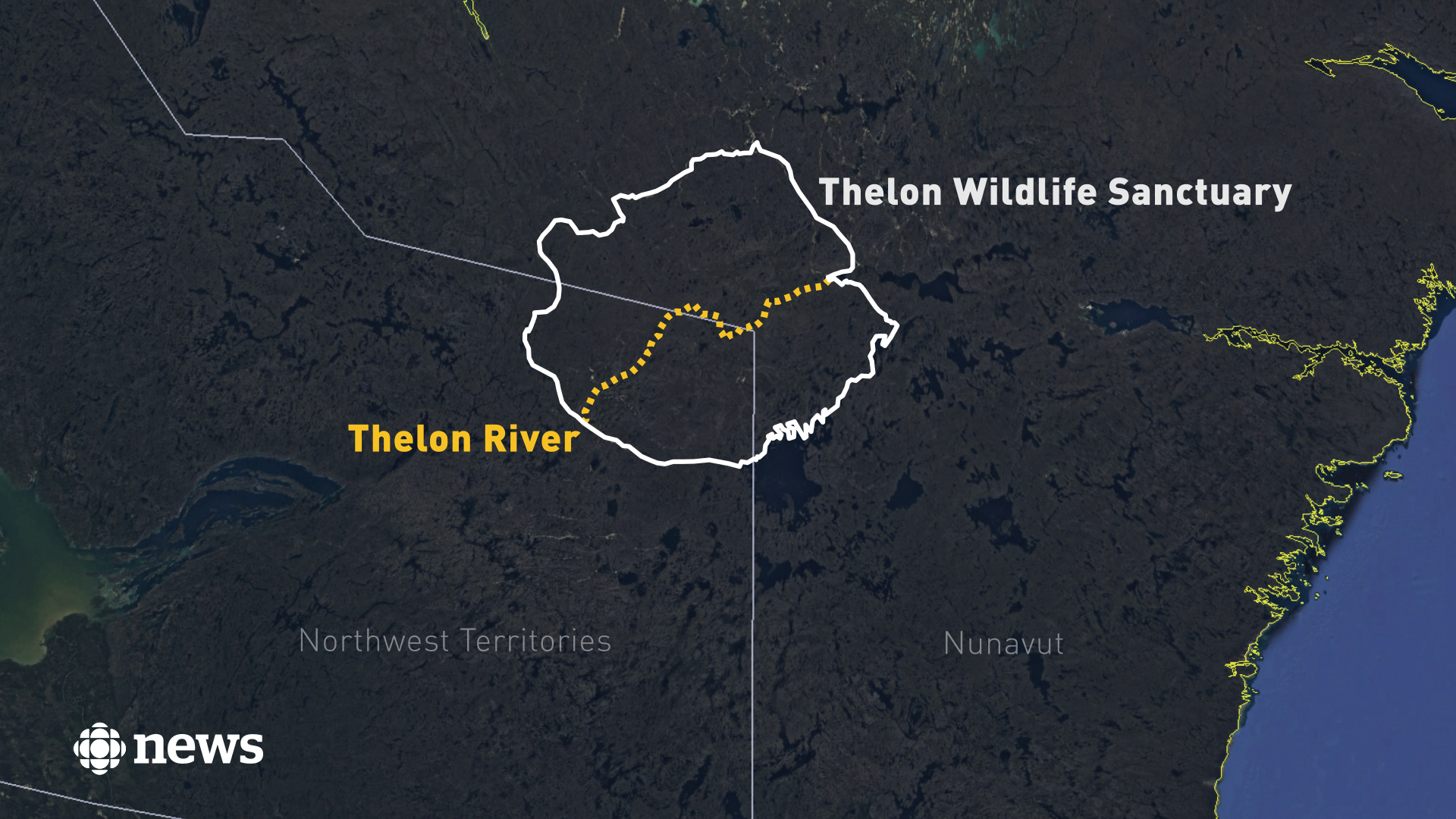 At more than 900 kilometres long, the Thelon River is the largest river in the Canadian tundra. The Thelon Wildlife Sanctuary is the largest protected area in Canada. (CBC News Graphics)