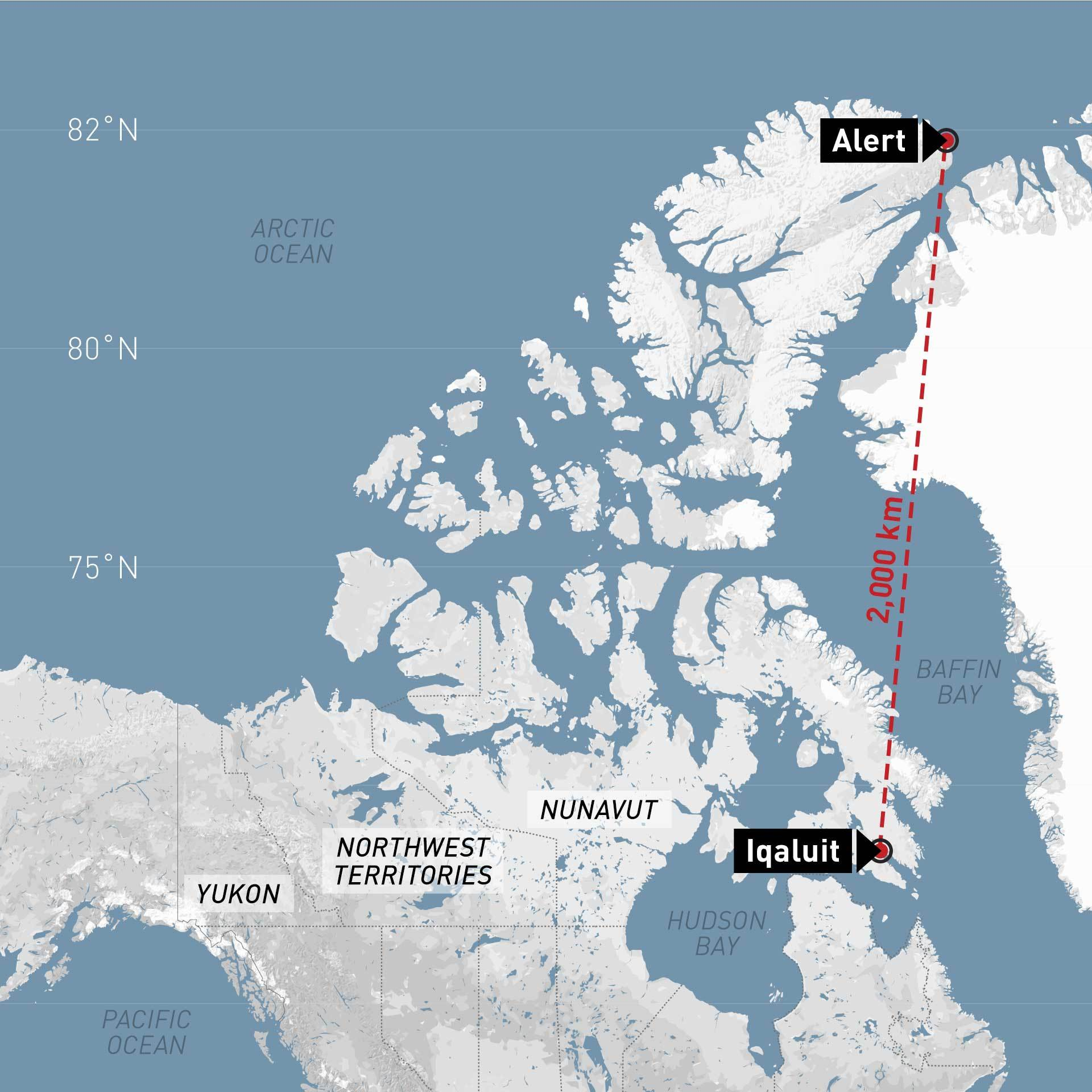 CFS Alert, the northernmost military outpost in Canada, is 2,000 kilometres from Iqaluit, the capital of Nunavut.