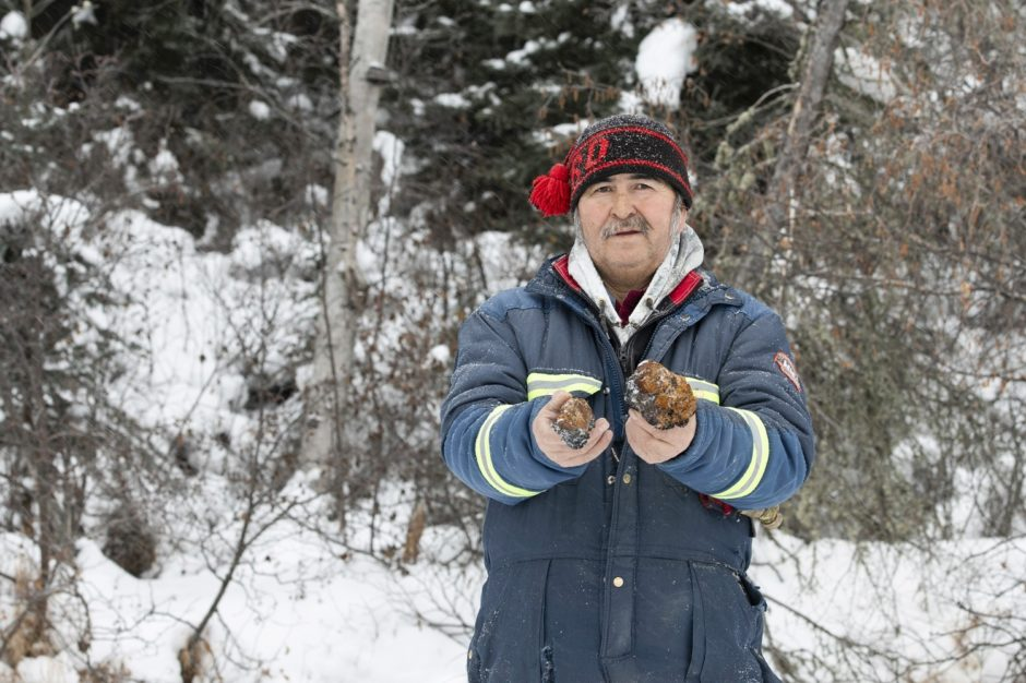 Tommy Bird holds freshly harvested chaga. (Kandis Riese)