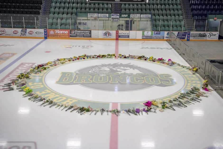 A ring of flowers surround centre ice at Elgar Petersen Arena in Humboldt.