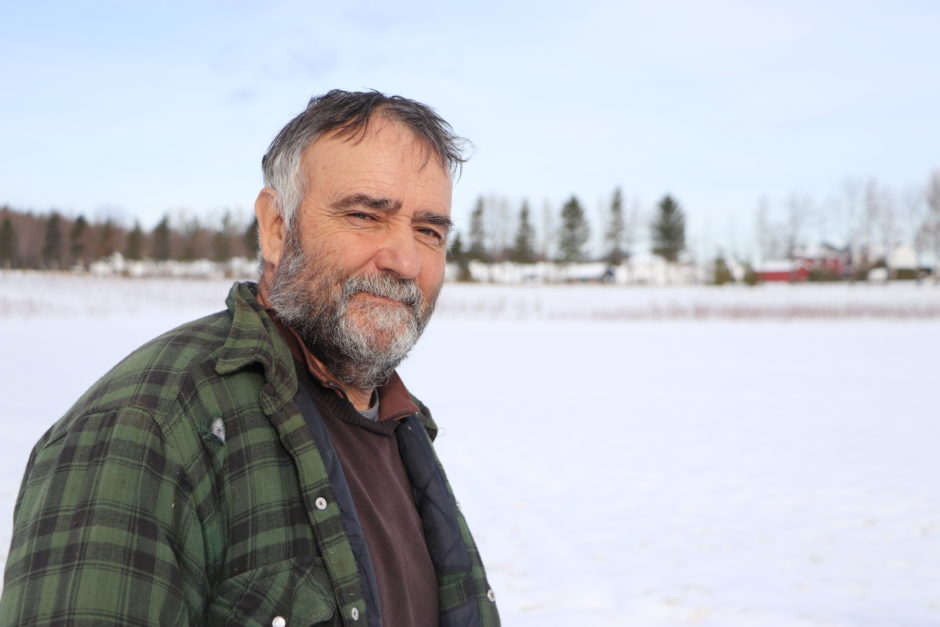 Farmer Denis Bédard, who owns 145 hectares of farmland in Quebec City's Charlesbourg neighbourhood, says he has no intention of selling the business his father started in 1941. (Julia Page/CBC)