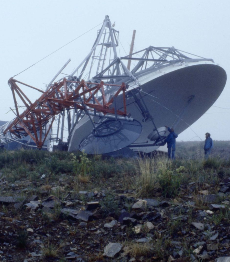 The crumpled and destroyed TV transmitter on Galena Hill overlooking central Yukon.