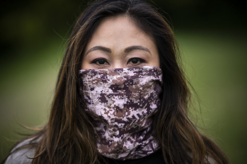 Filipina-Canadian Gina Galo wears the face mask she says deterred a white woman from her in line at a grocery store.