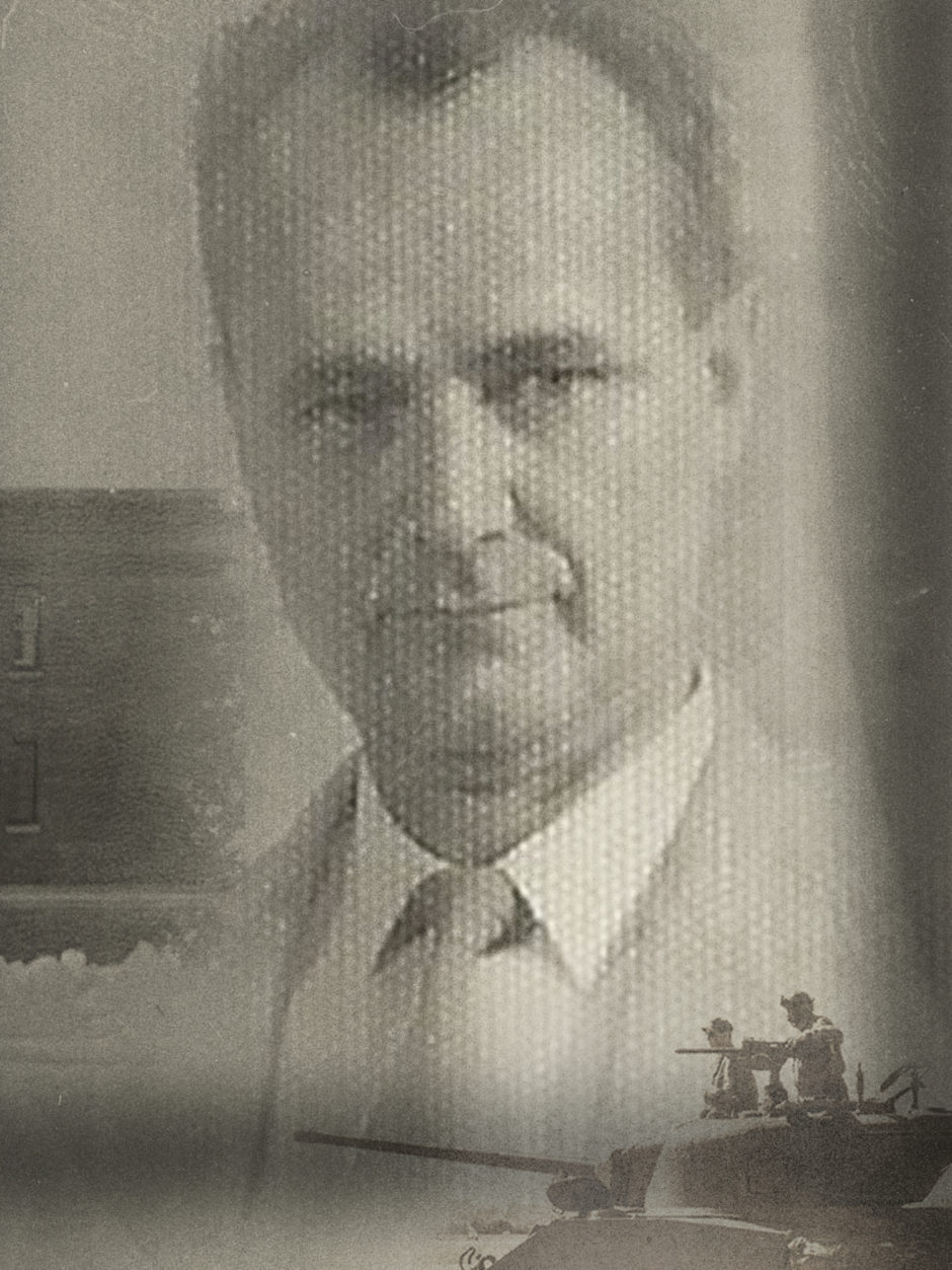Frank Peters in a photo illustration with an archival image of Headingley jail and a silhouette of a tank.