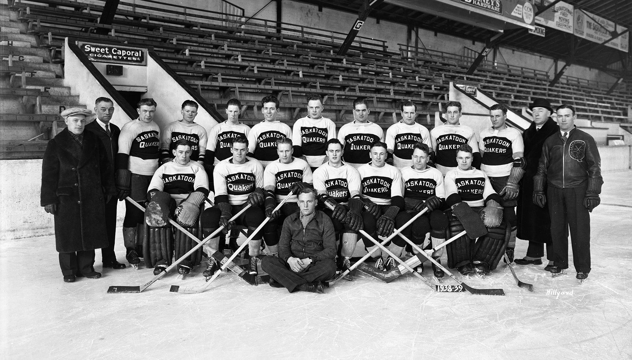 The (mostly) unsmiling members of the 1938-39 Saskatoon Quakers minor-pro hockey team inside Saskatoon Arena. (Saskatoon Public Library Local History Room - Photo A-661)